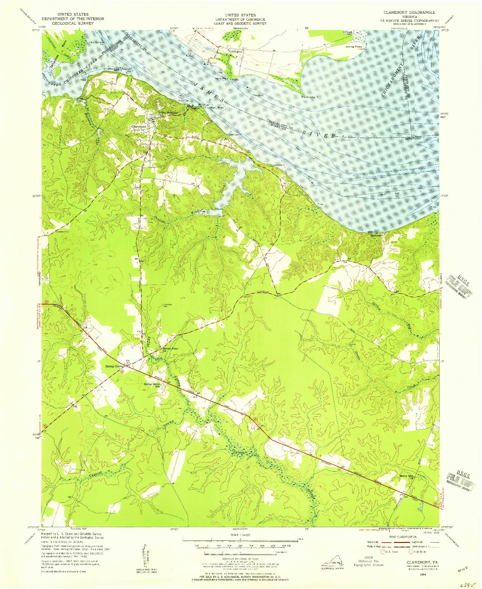 USGS 1:24000-SCALE QUADRANGLE FOR CLAREMONT, VA 1954