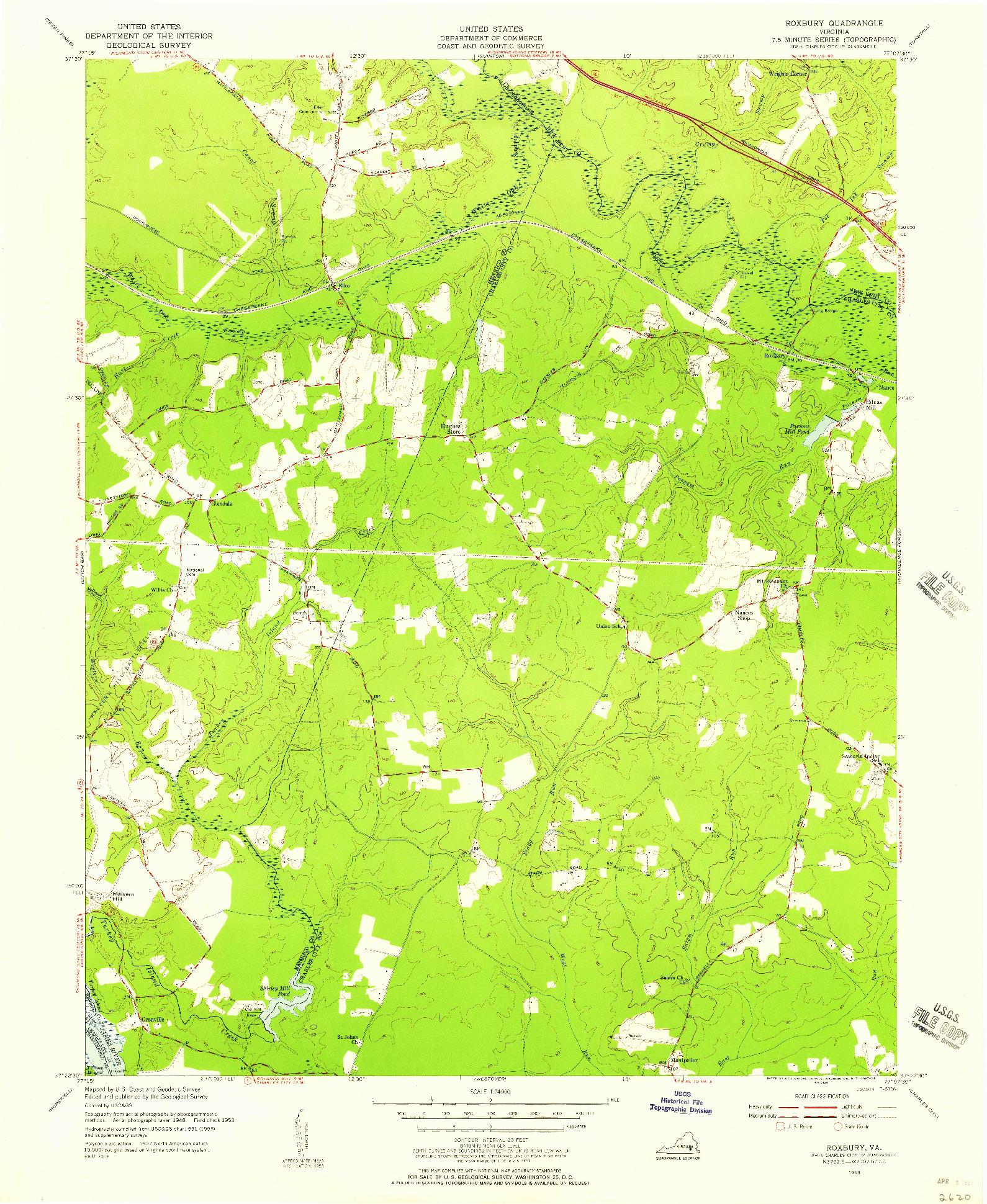 USGS 1:24000-SCALE QUADRANGLE FOR ROXBURY, VA 1953