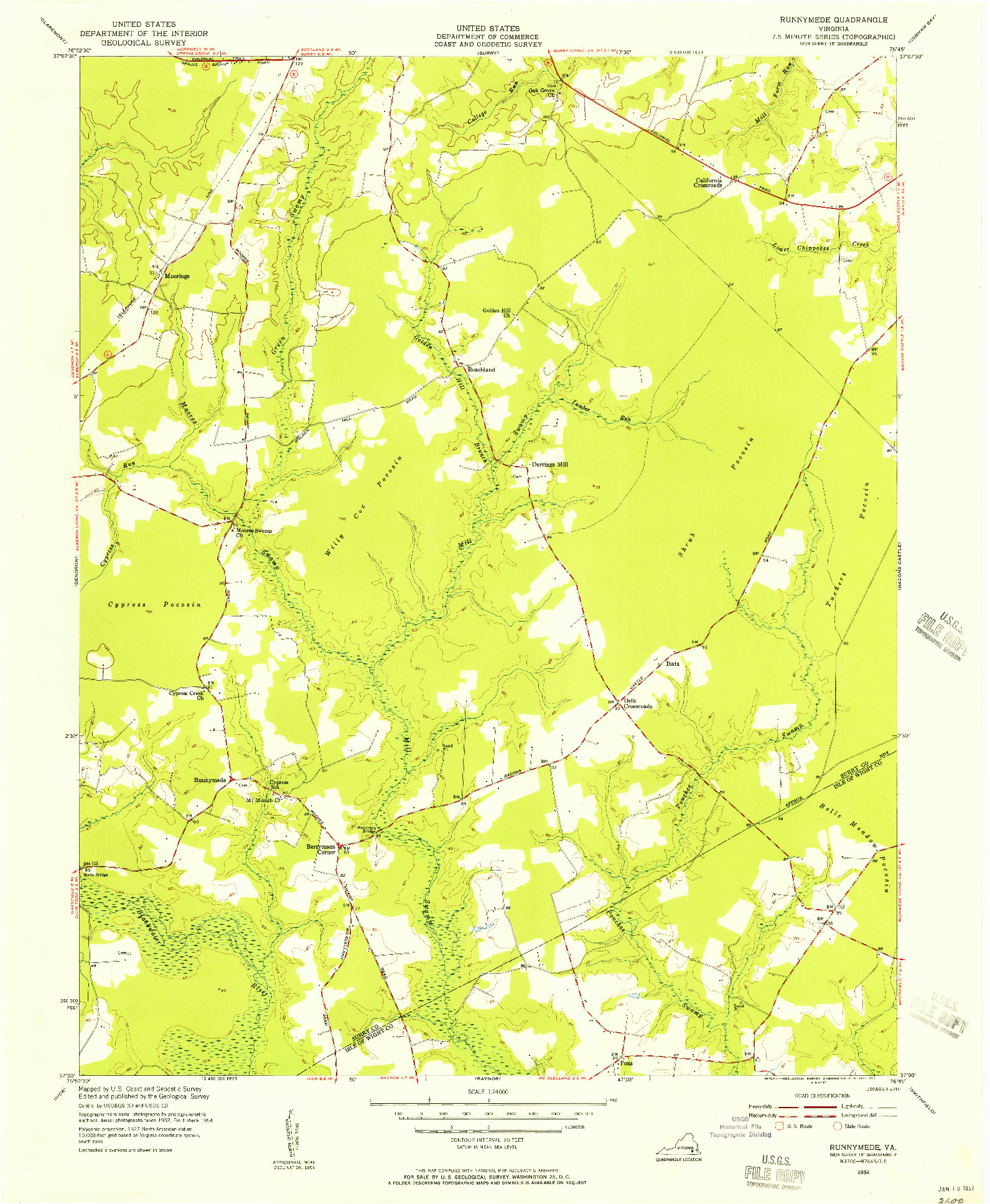 USGS 1:24000-SCALE QUADRANGLE FOR RUNNYMEDE, VA 1954