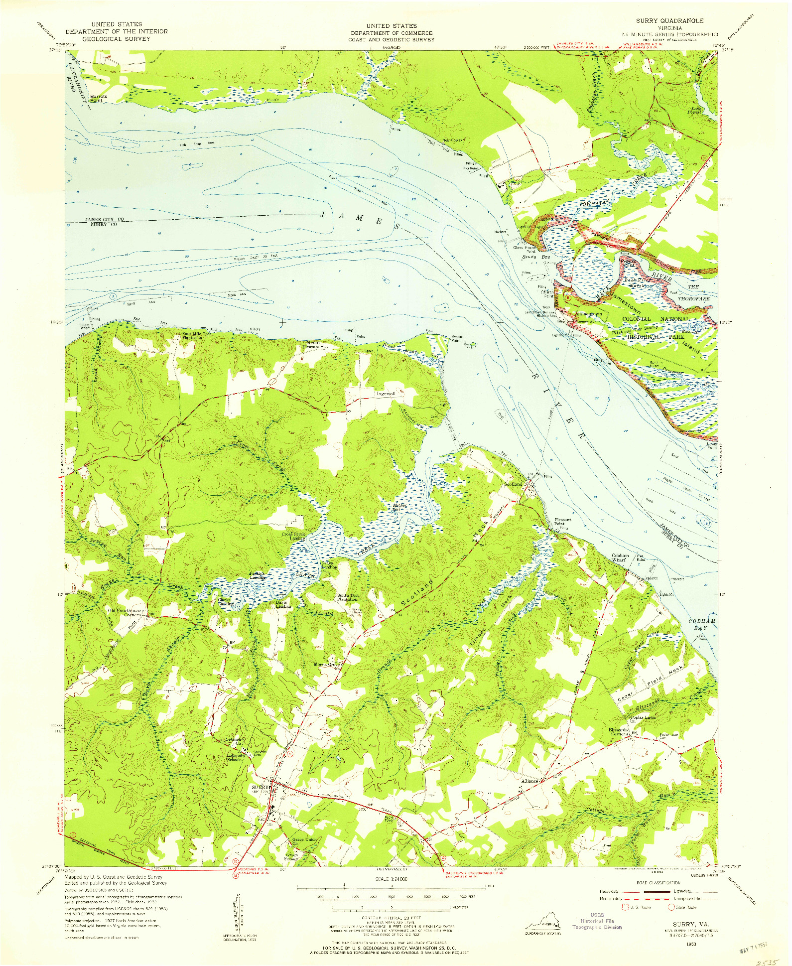 USGS 1:24000-SCALE QUADRANGLE FOR SURRY, VA 1953