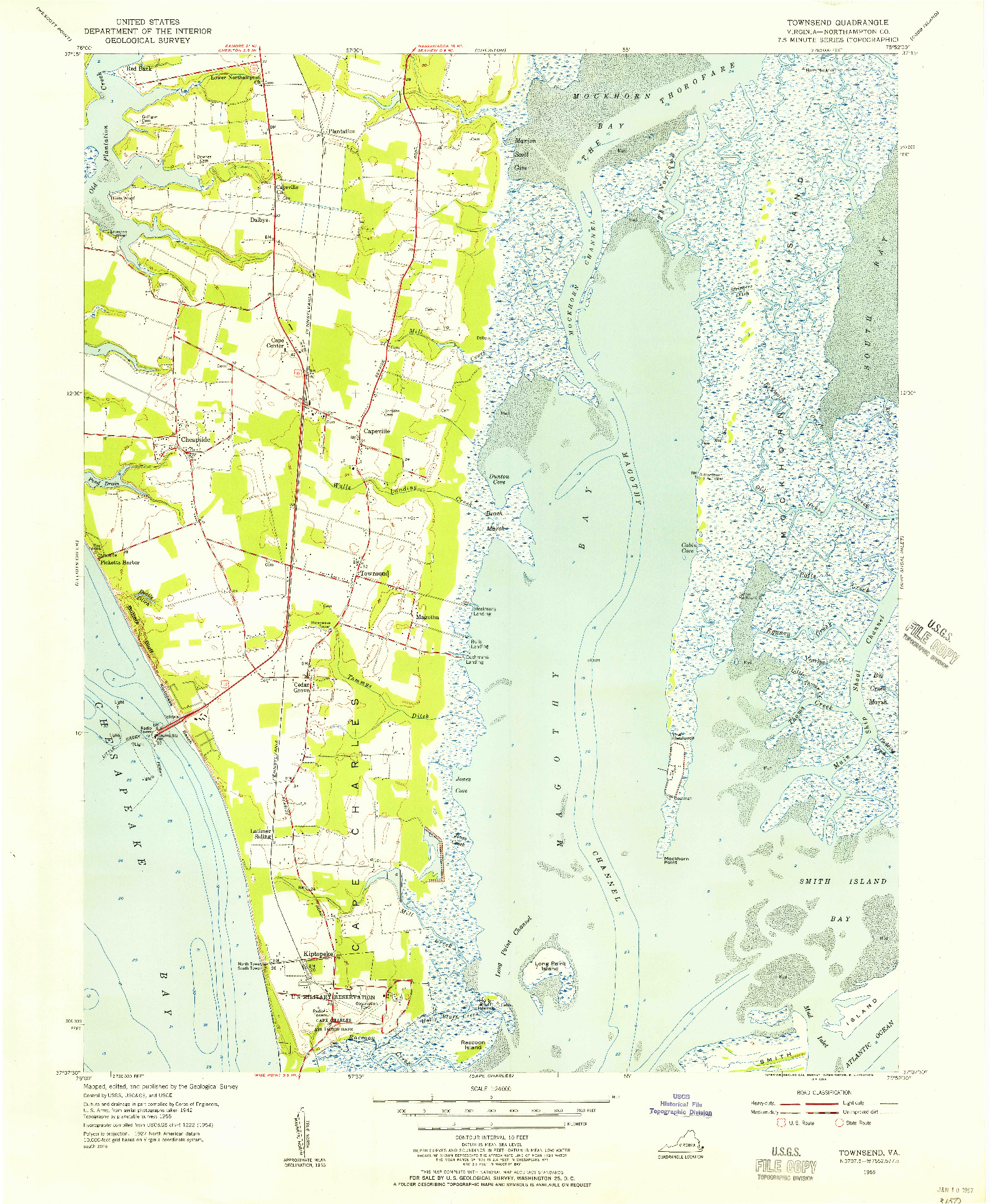 USGS 1:24000-SCALE QUADRANGLE FOR TOWNSEND, VA 1955