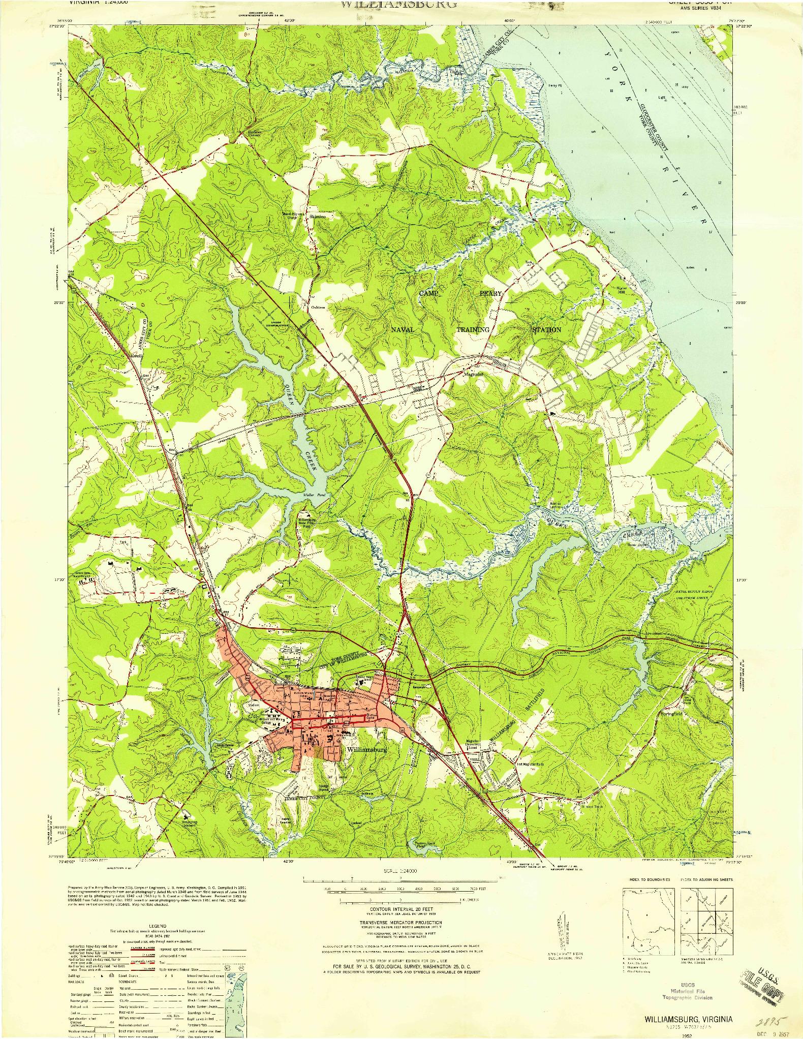 USGS 1:24000-SCALE QUADRANGLE FOR WILLIAMSBURG, VA 1952