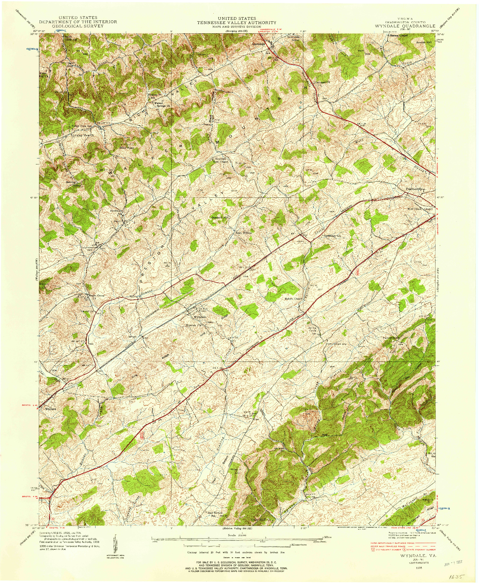 USGS 1:24000-SCALE QUADRANGLE FOR WYNDALE, VA 1938