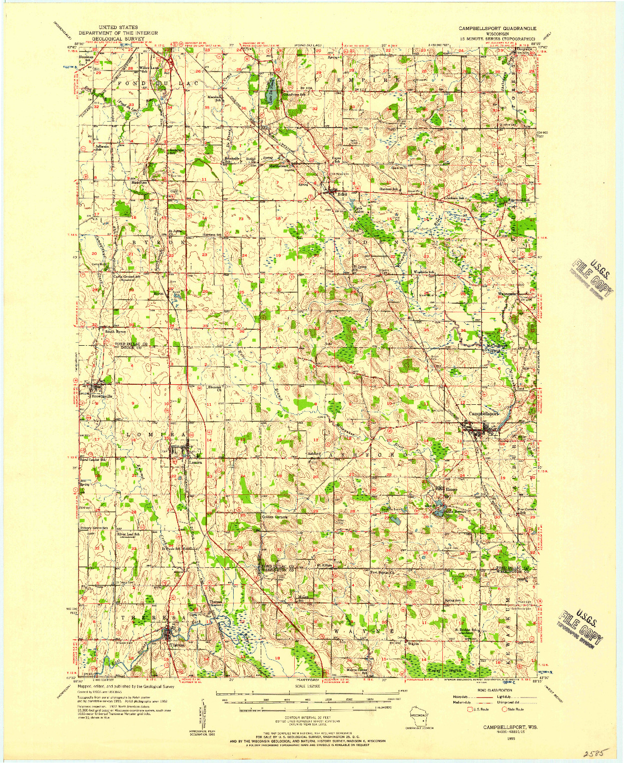 USGS 1:62500-SCALE QUADRANGLE FOR CAMPBELLSPORT, WI 1955
