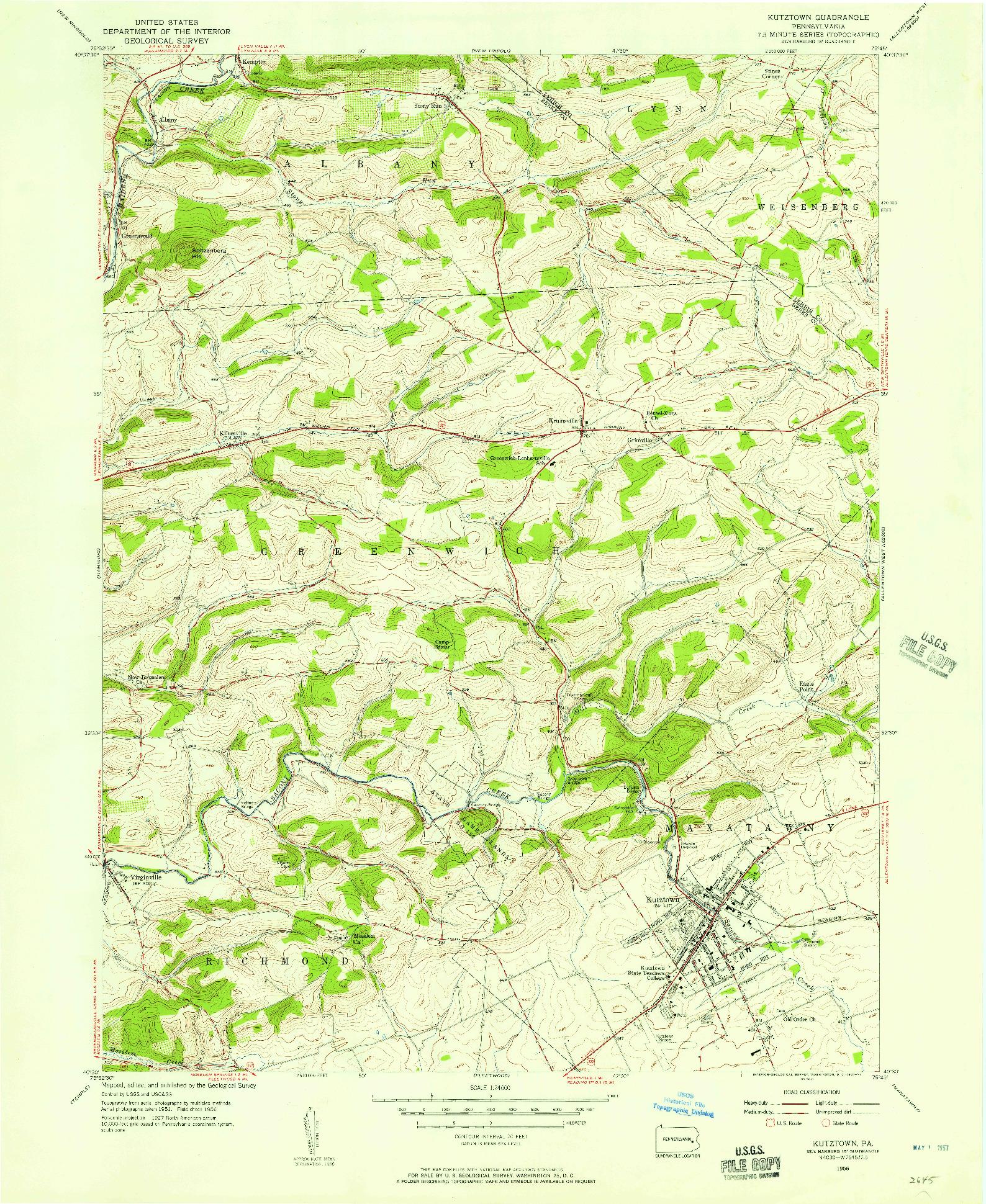 USGS 1:24000-SCALE QUADRANGLE FOR KUTZTOWN, PA 1956