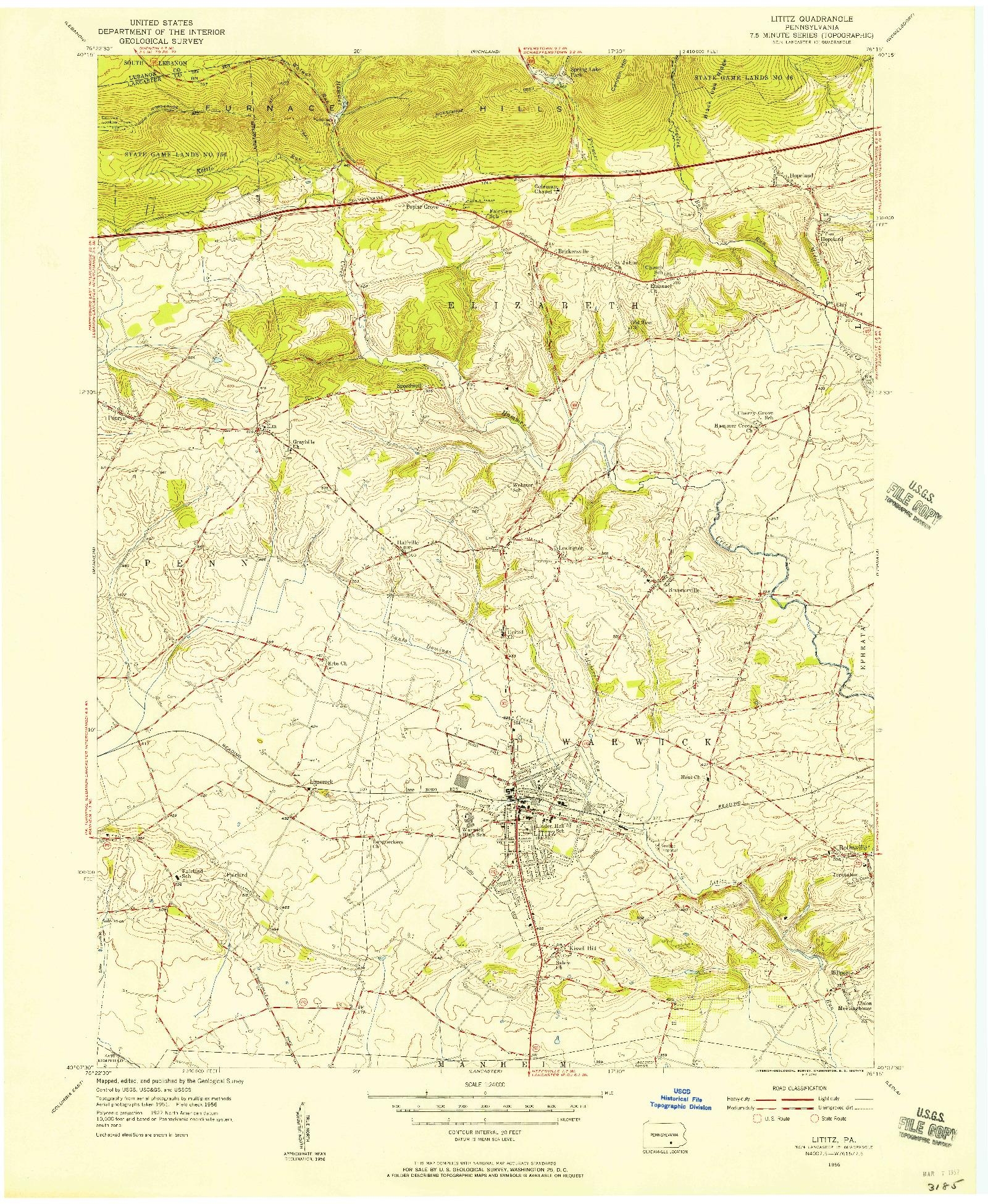 USGS 1:24000-SCALE QUADRANGLE FOR LITITZ, PA 1956