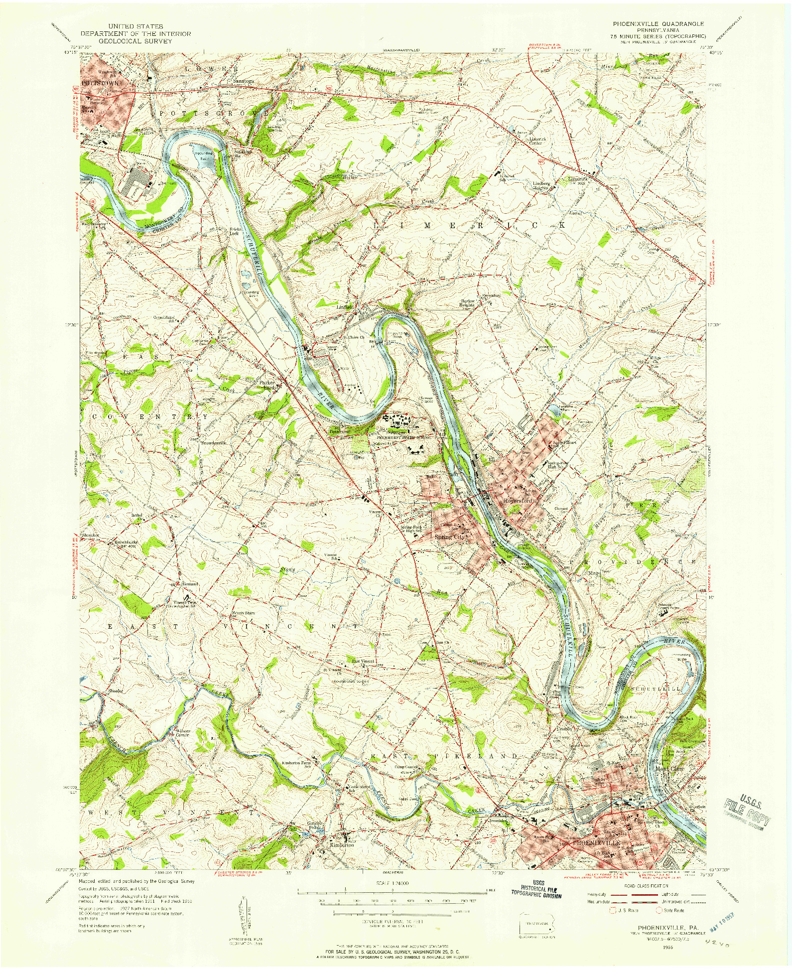 USGS 1:24000-SCALE QUADRANGLE FOR PHOENIXVILLE, PA 1955