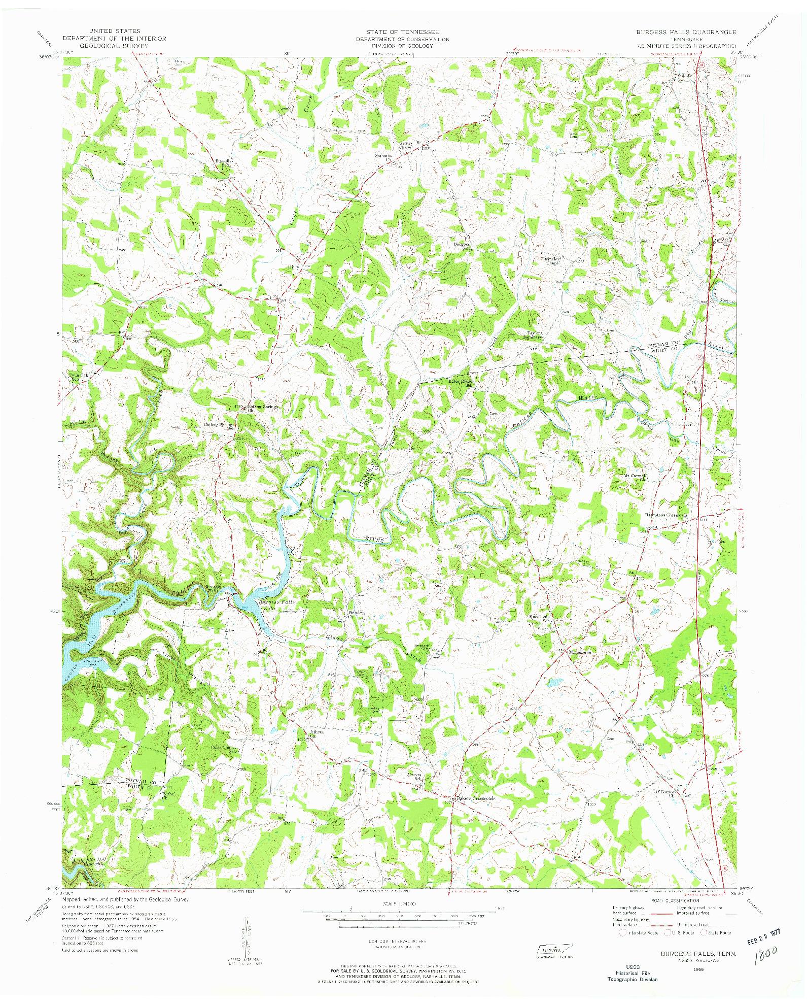 USGS 1:24000-SCALE QUADRANGLE FOR BURGESS FALLS, TN 1956