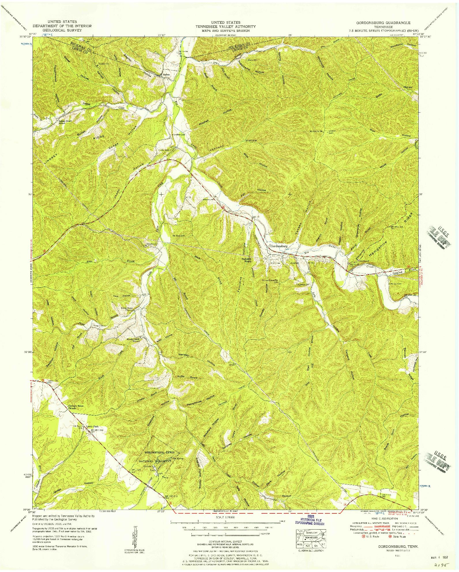 USGS 1:24000-SCALE QUADRANGLE FOR GORDONSBURG, TN 1951