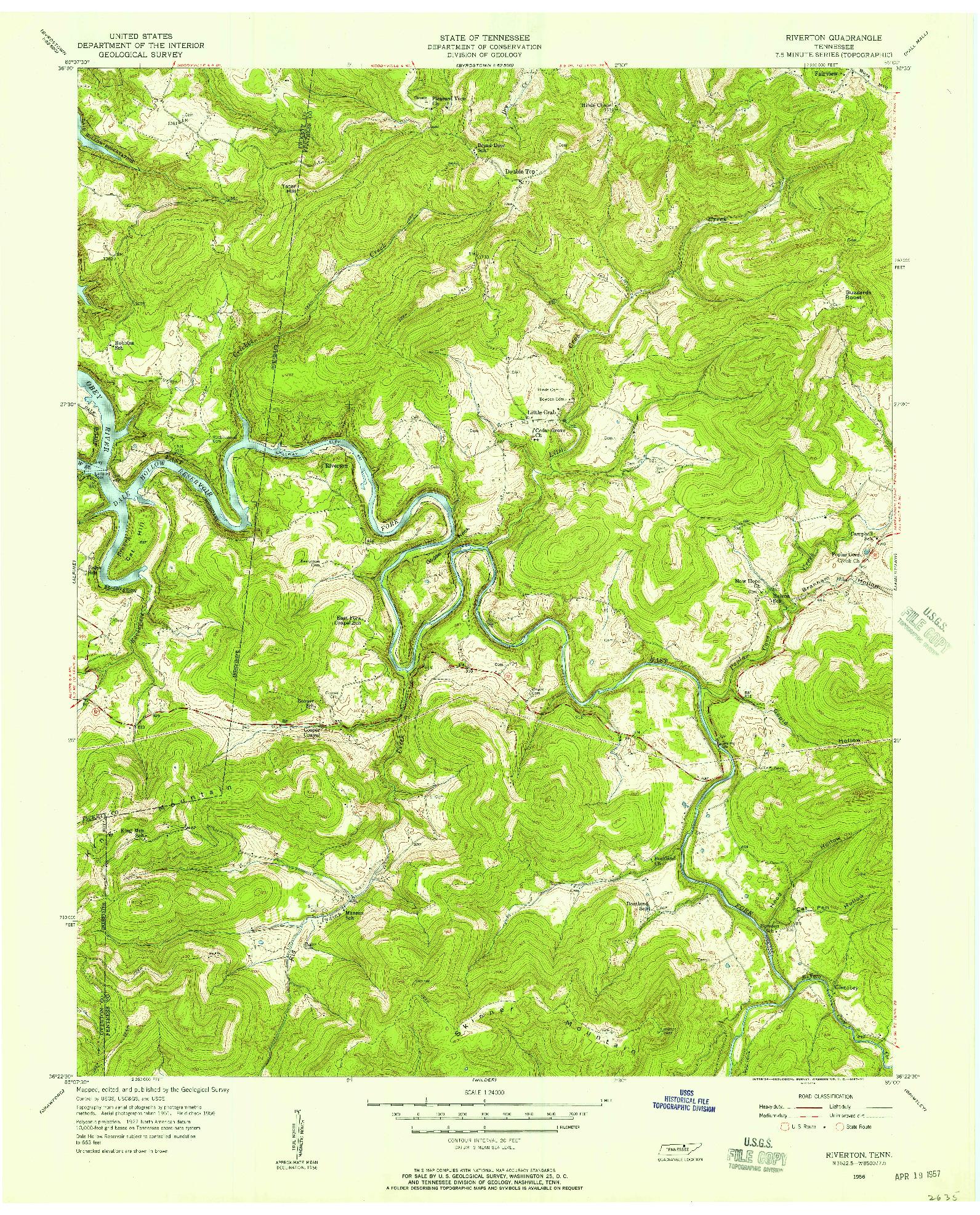 USGS 1:24000-SCALE QUADRANGLE FOR RIVERTON, TN 1956