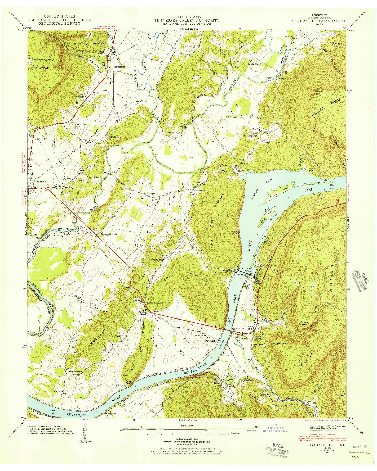 USGS 1:24000-SCALE QUADRANGLE FOR SEQUATCHIE, TN 1942