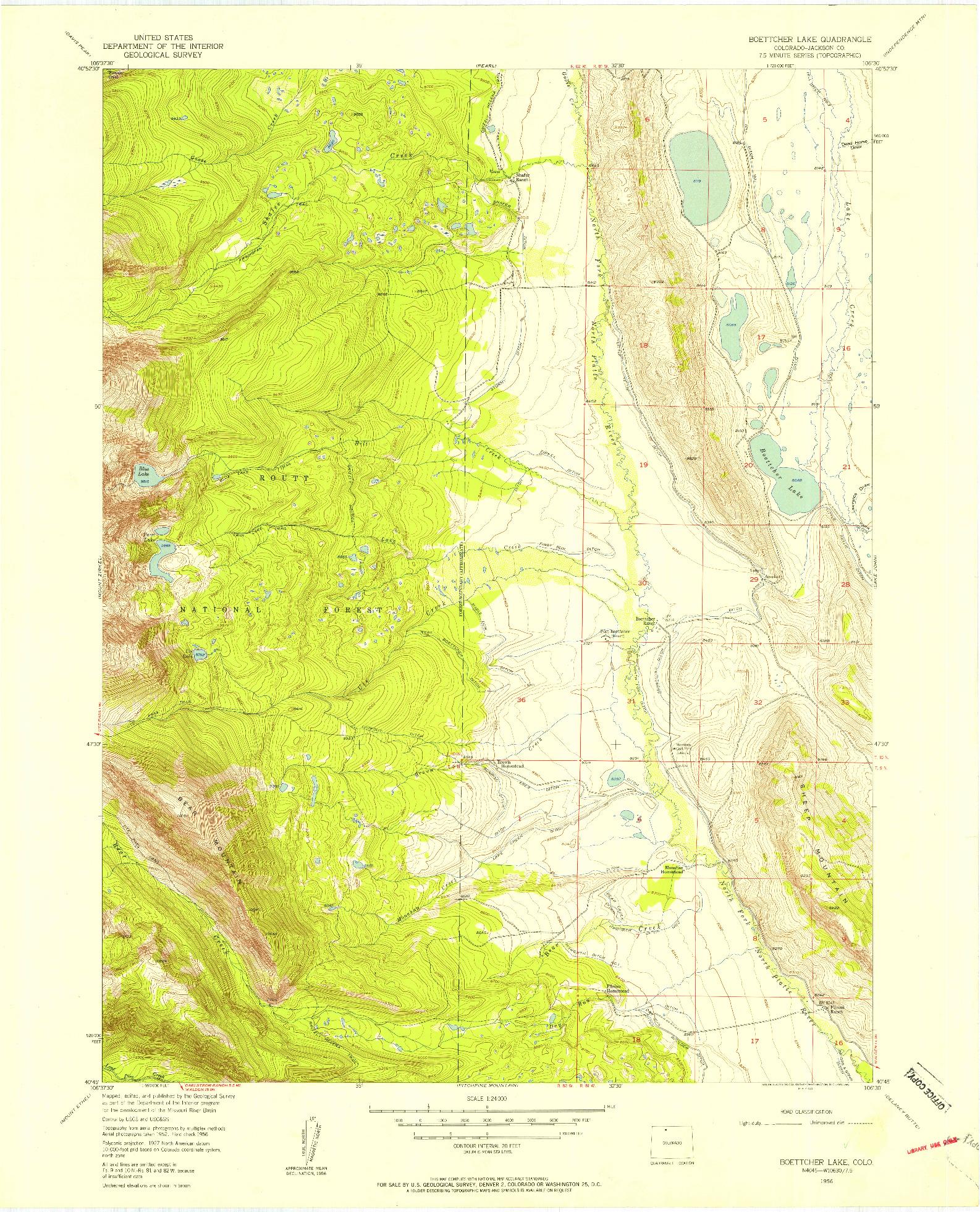 USGS 1:24000-SCALE QUADRANGLE FOR BOETTCHER LAKE, CO 1956