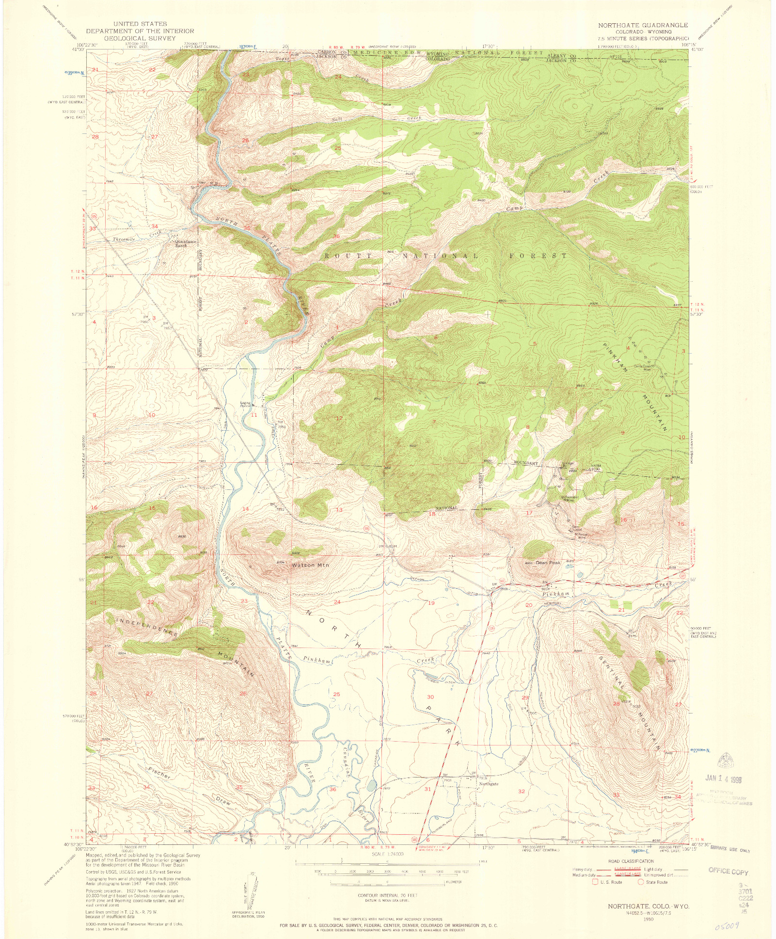 USGS 1:24000-SCALE QUADRANGLE FOR NORTHGATE, CO 1950