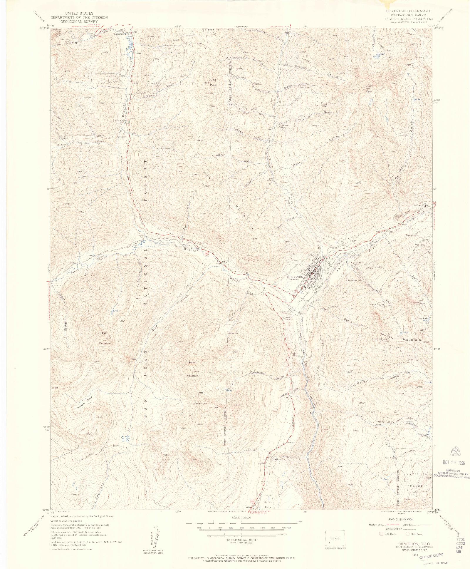 USGS 1:24000-SCALE QUADRANGLE FOR SILVERTON, CO 1955