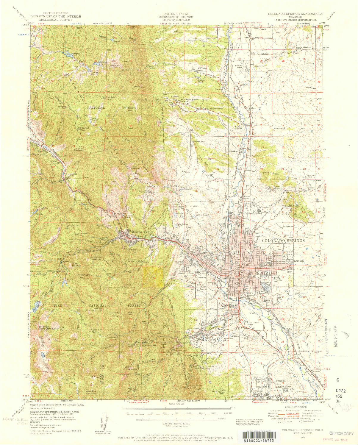 USGS 1:62500-SCALE QUADRANGLE FOR COLORADO SPRINGS, CO 1948
