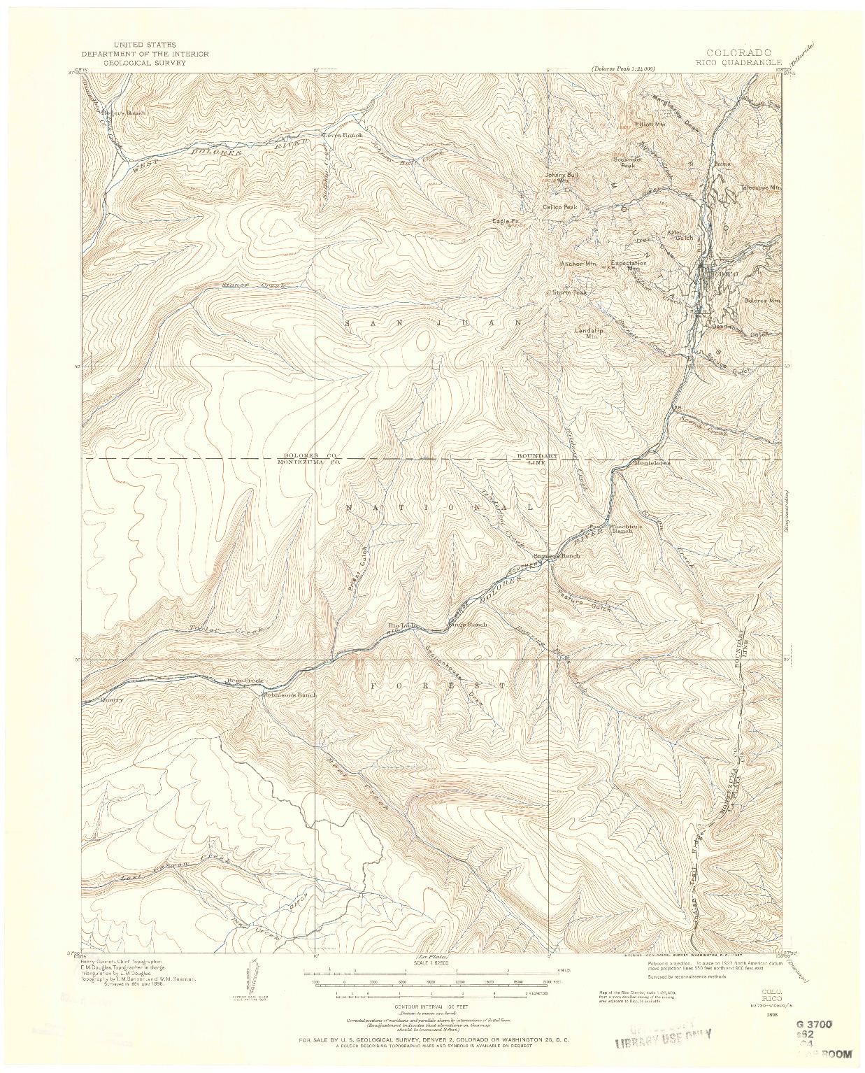 USGS 1:62500-SCALE QUADRANGLE FOR RICO, CO 1898