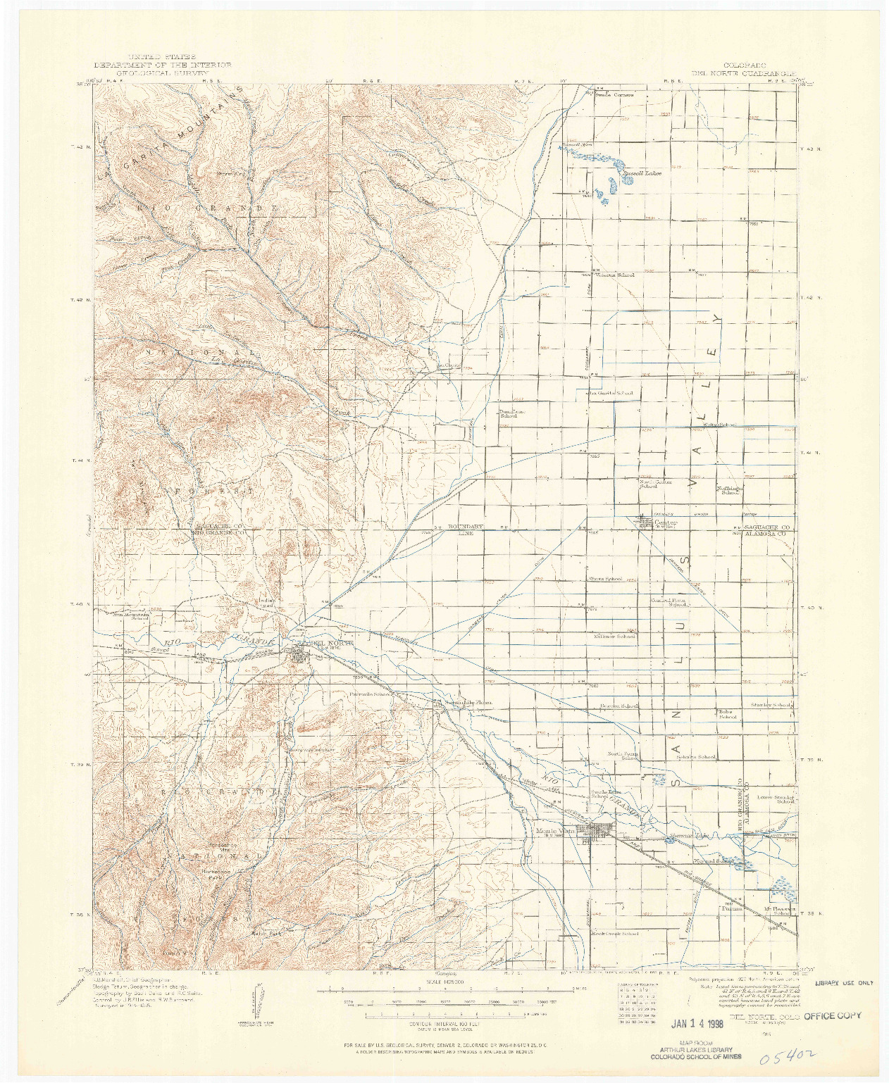 USGS 1:125000-SCALE QUADRANGLE FOR DEL NORTE, CO 1915