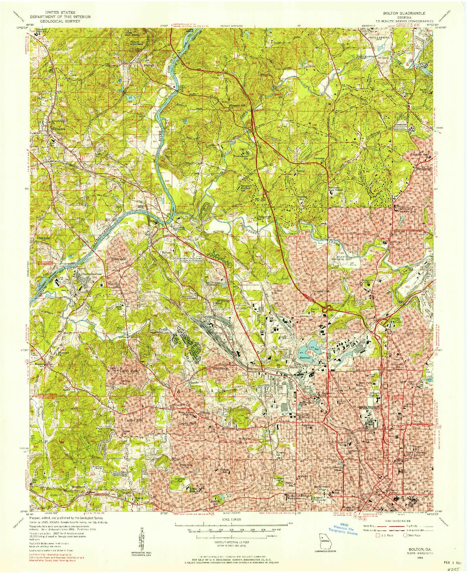 USGS 1:24000-SCALE QUADRANGLE FOR BOLTON, GA 1954