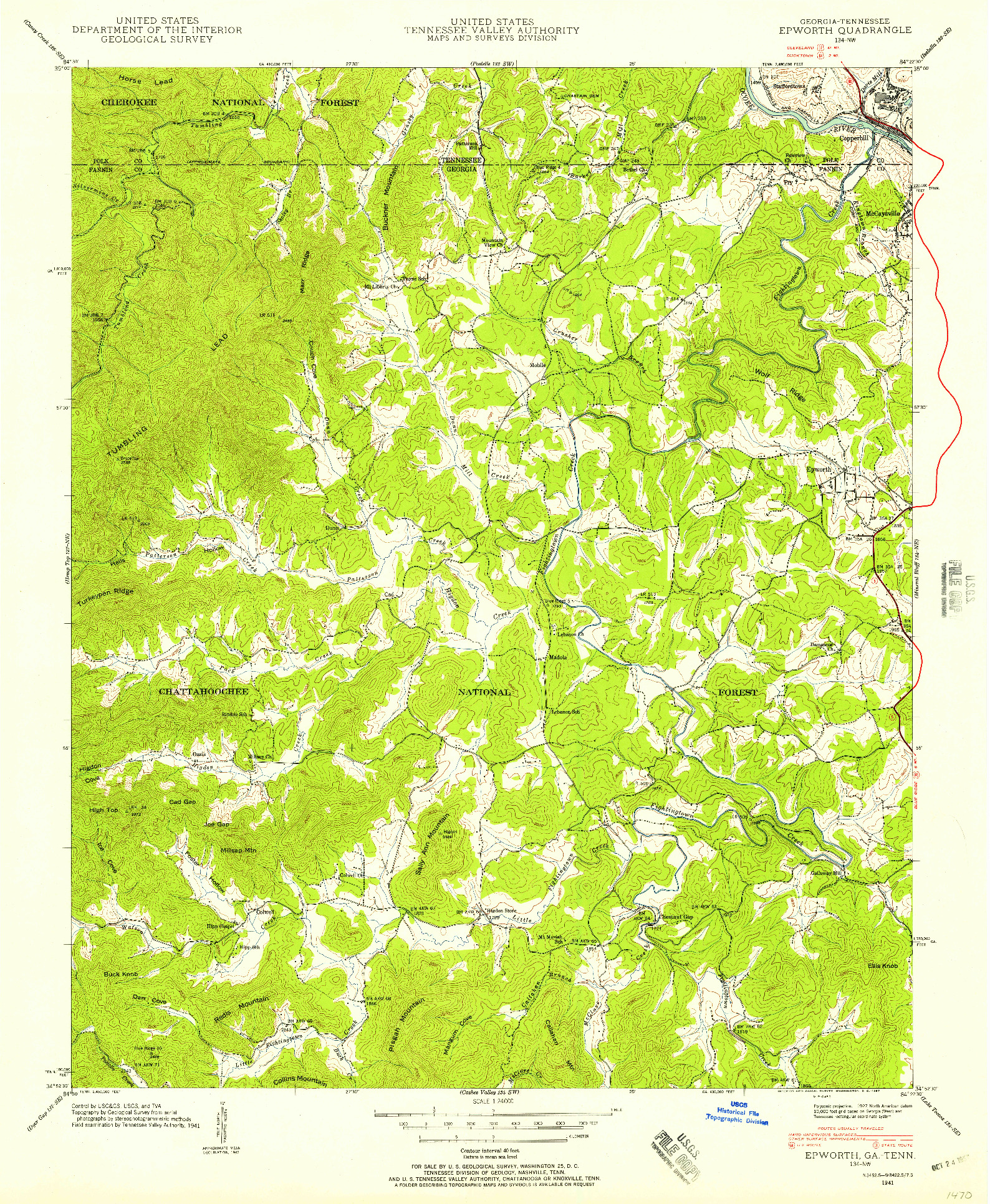 USGS 1:24000-SCALE QUADRANGLE FOR EPWORTH, GA 1941