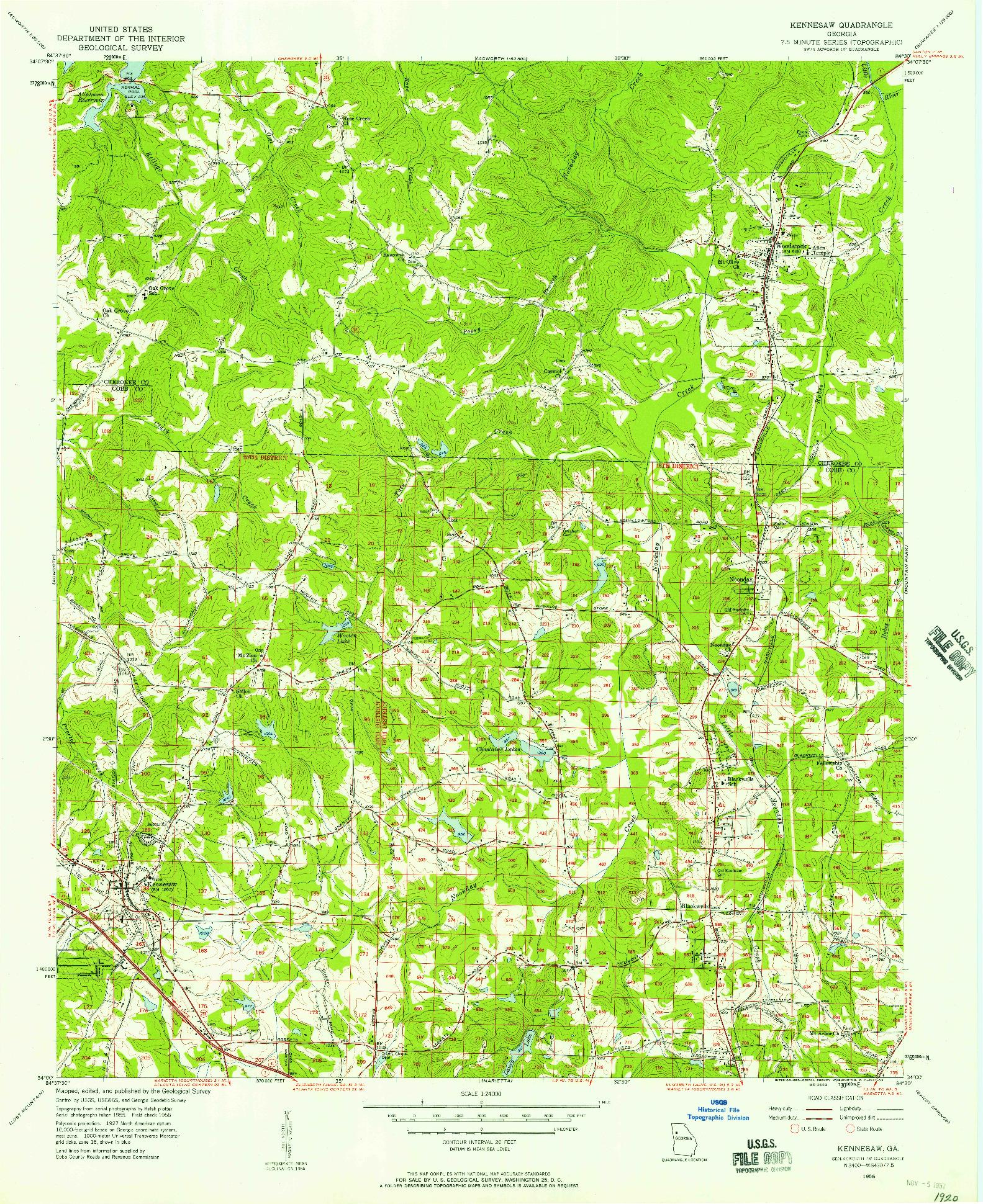 USGS 1:24000-SCALE QUADRANGLE FOR KENNESAW, GA 1956