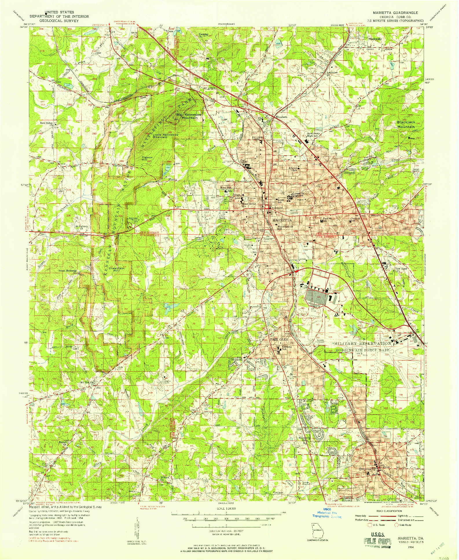 USGS 1:24000-SCALE QUADRANGLE FOR MARIETTA, GA 1954