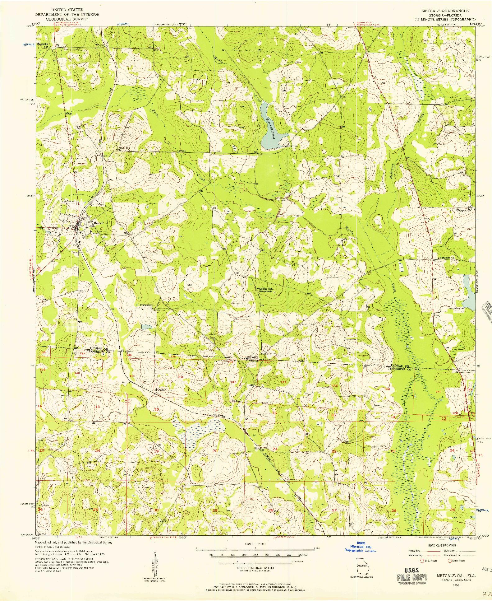 USGS 1:24000-SCALE QUADRANGLE FOR METCALF, GA 1956