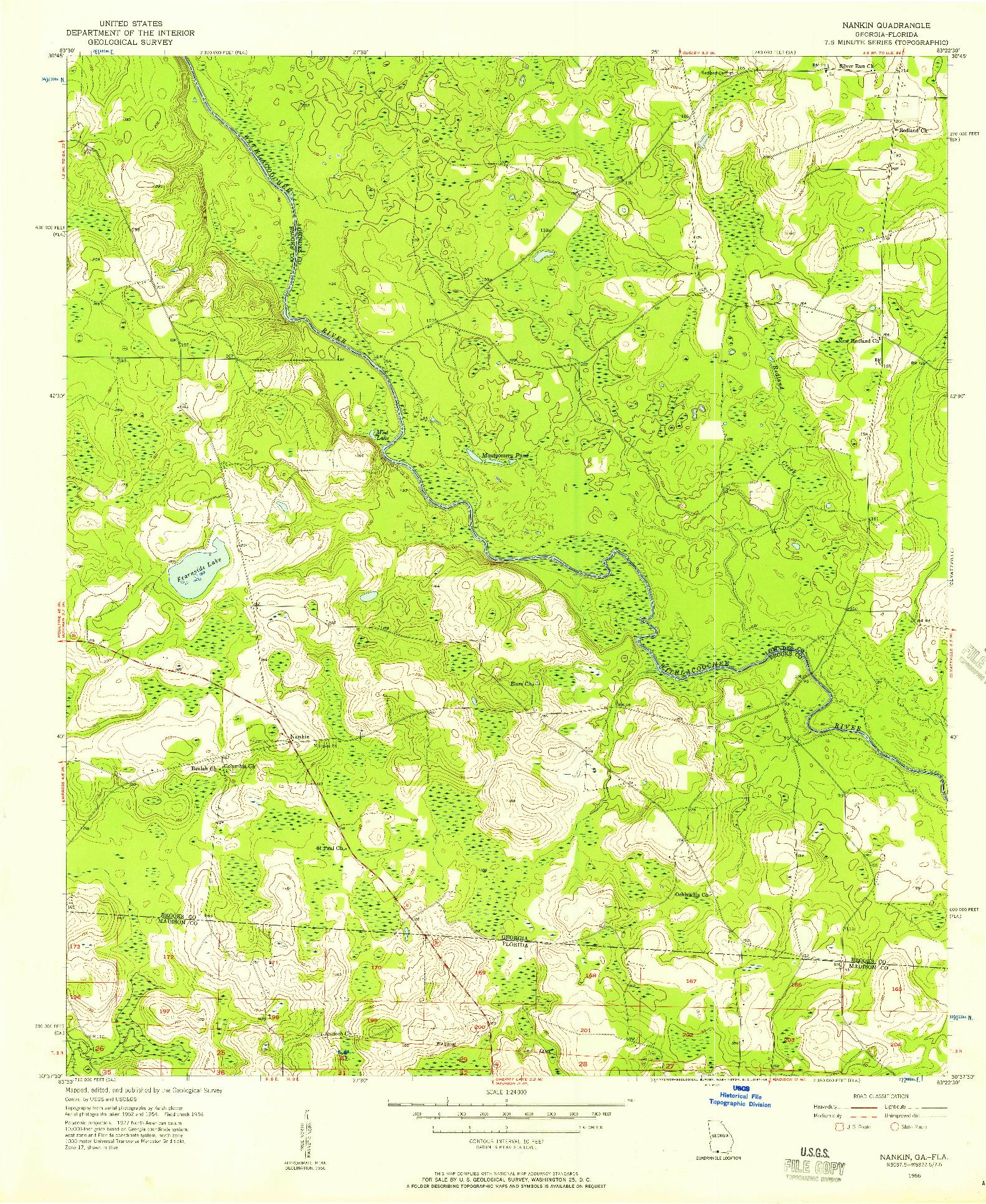 USGS 1:24000-SCALE QUADRANGLE FOR NANKIN, GA 1956