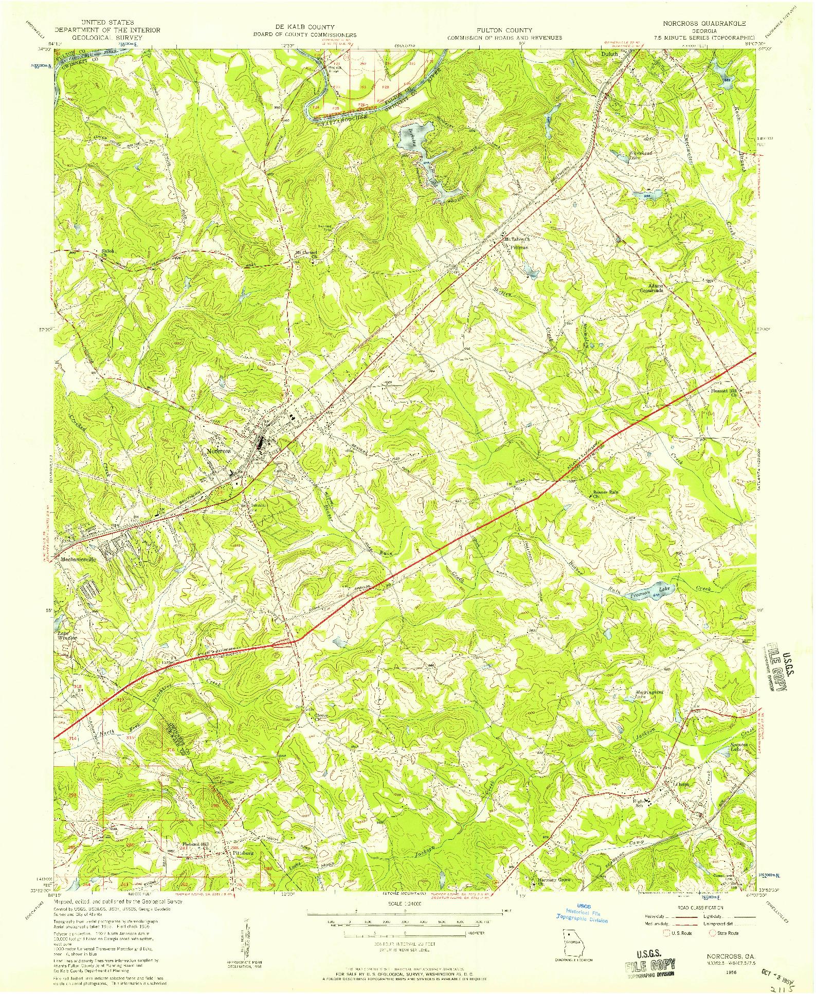 USGS 1:24000-SCALE QUADRANGLE FOR NORCROSS, GA 1956
