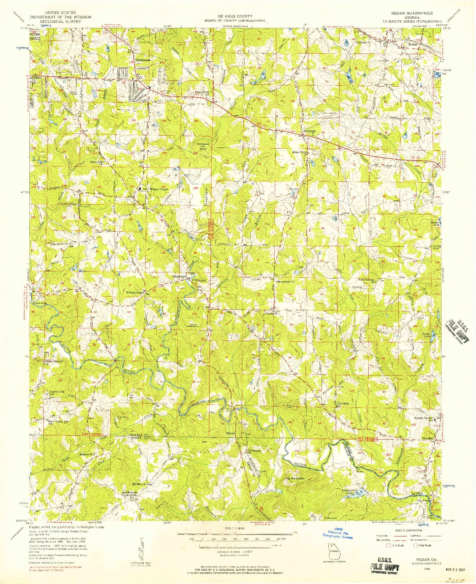 USGS 1:24000-SCALE QUADRANGLE FOR REDAN, GA 1956