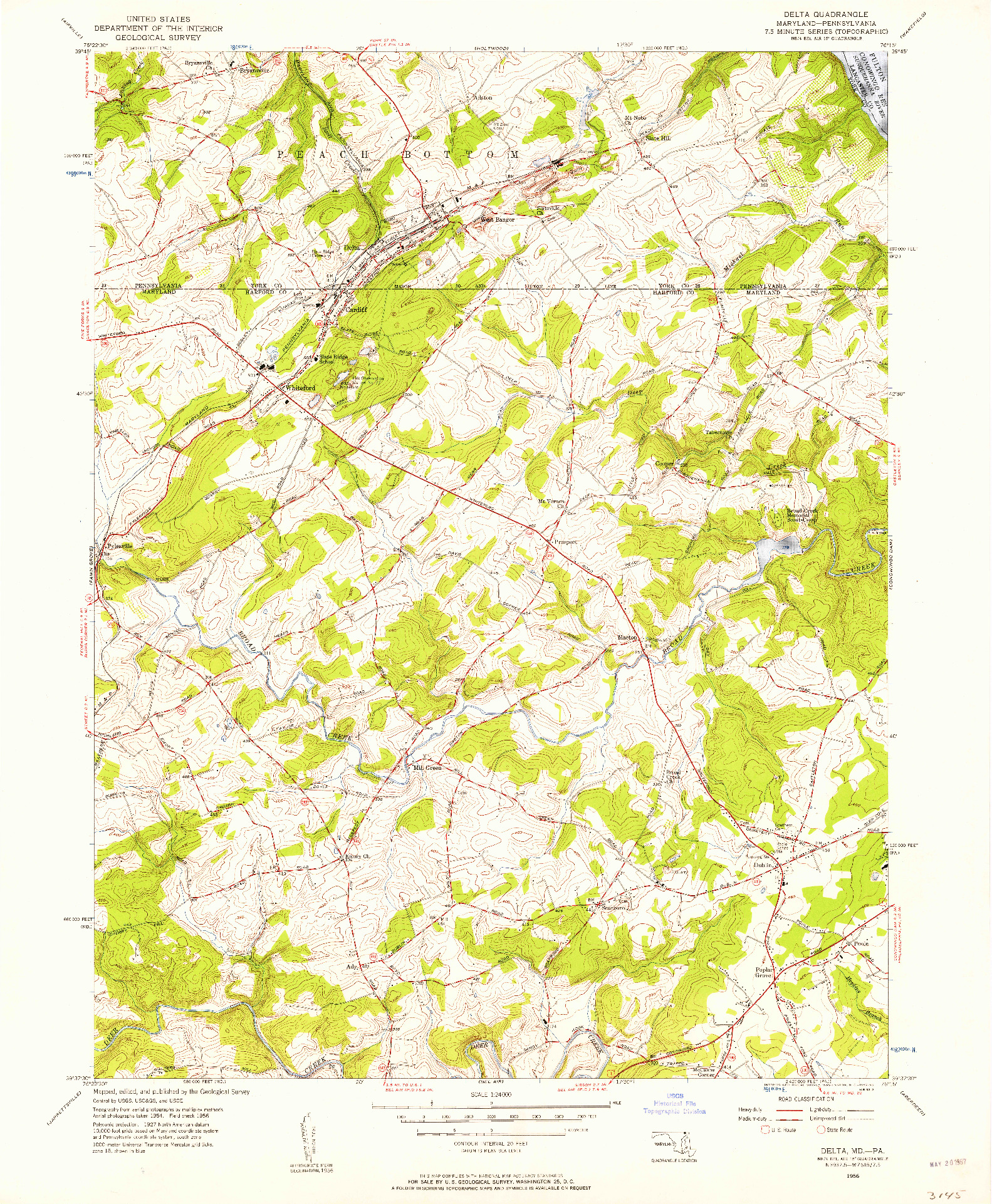USGS 1:24000-SCALE QUADRANGLE FOR DELTA, MD 1956