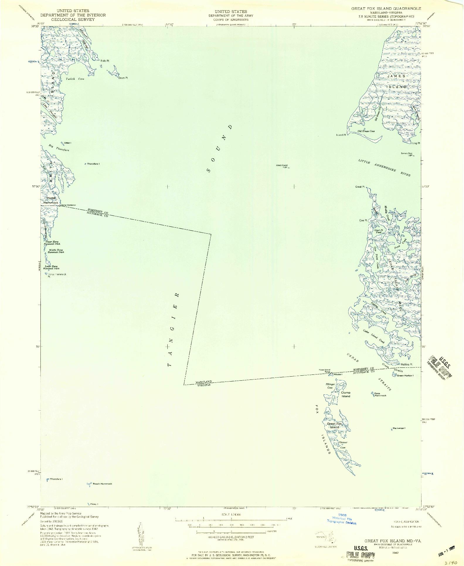 USGS 1:24000-SCALE QUADRANGLE FOR GREAT FOX ISLAND, MD 1942
