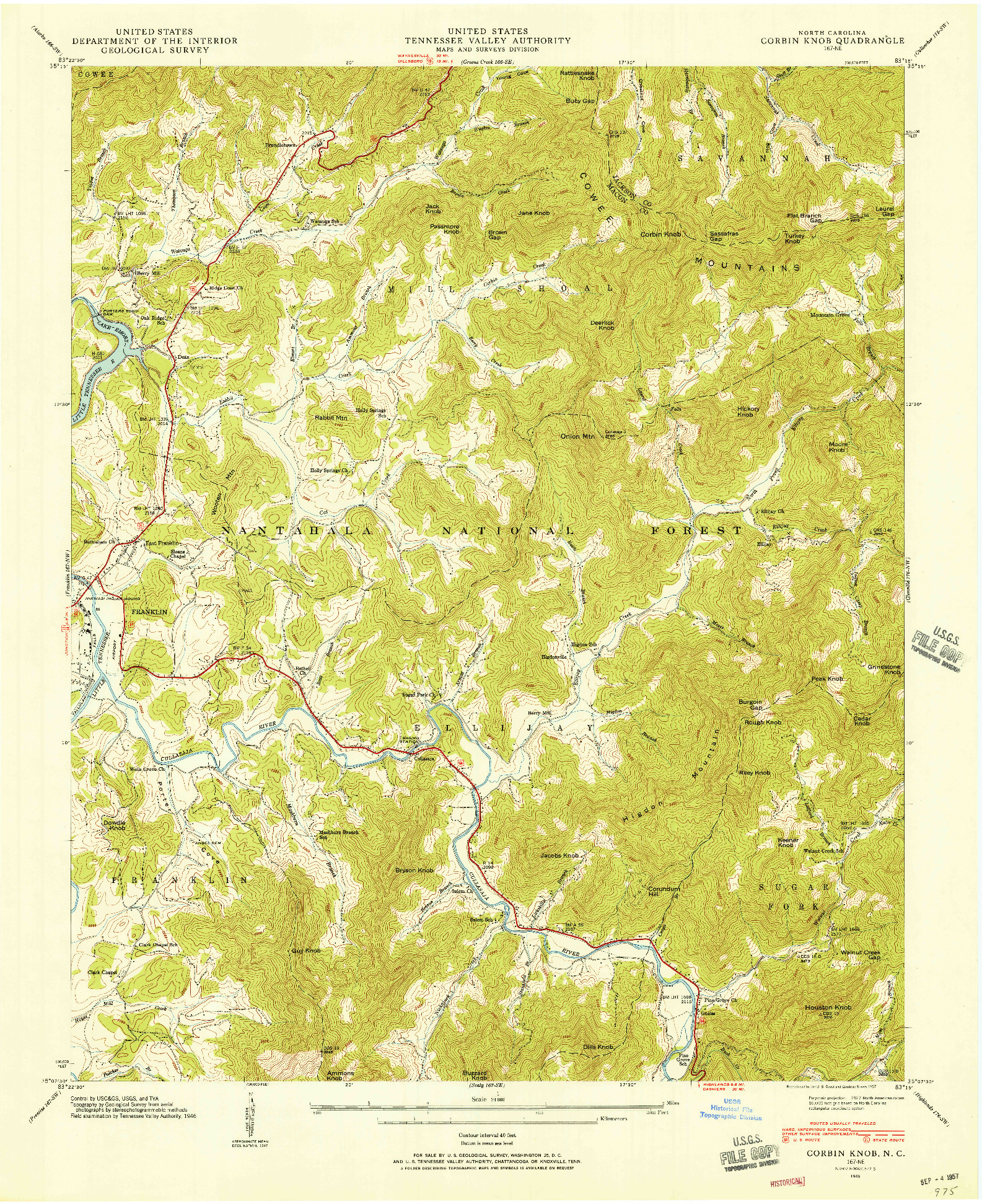 USGS 1:24000-SCALE QUADRANGLE FOR CORBIN KNOB, NC 1946