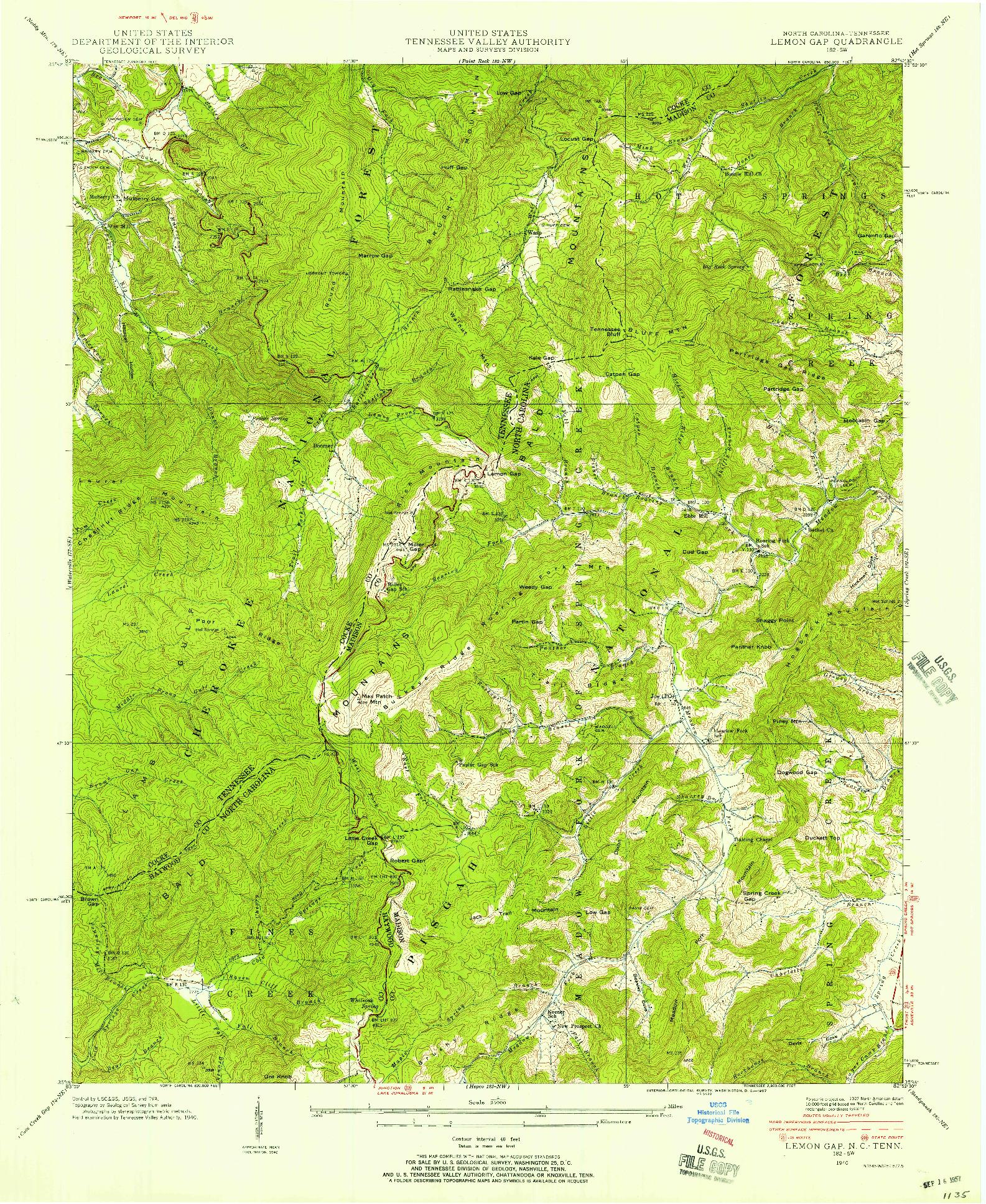 USGS 1:24000-SCALE QUADRANGLE FOR LEMON GAP, NC 1940