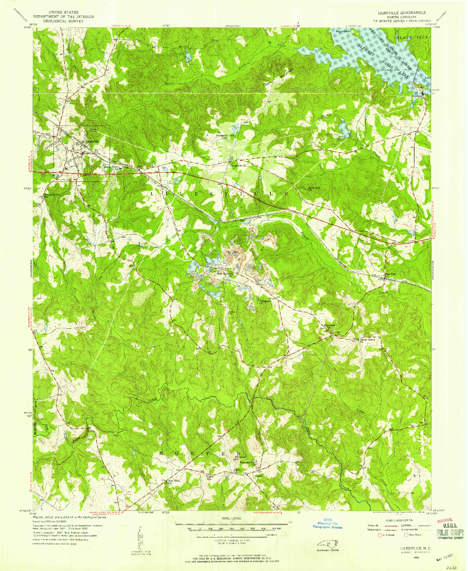 USGS 1:24000-SCALE QUADRANGLE FOR LILESVILLE, NC 1956