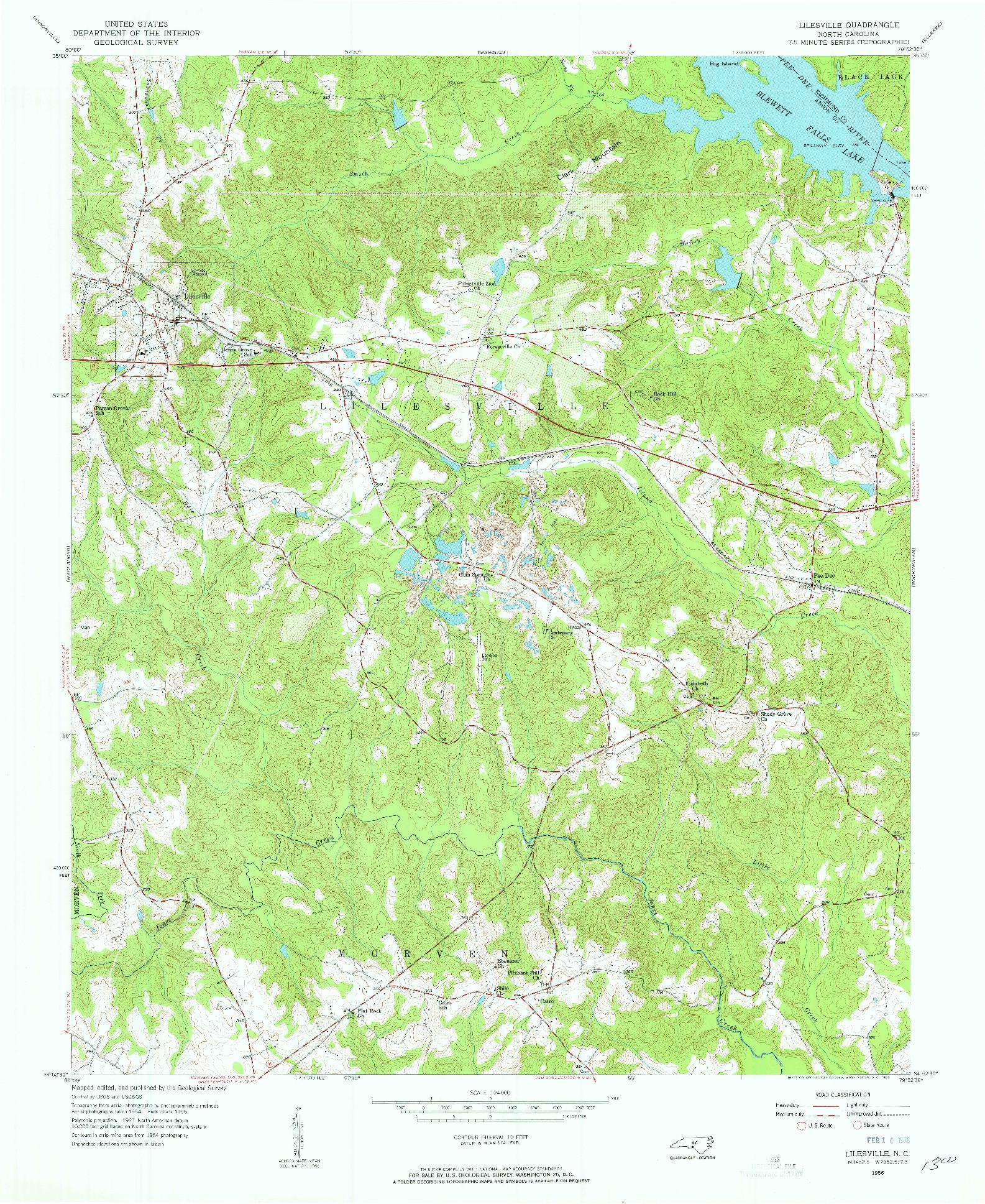 USGS 1:24000-SCALE QUADRANGLE FOR LILESVILLE, NC 1956