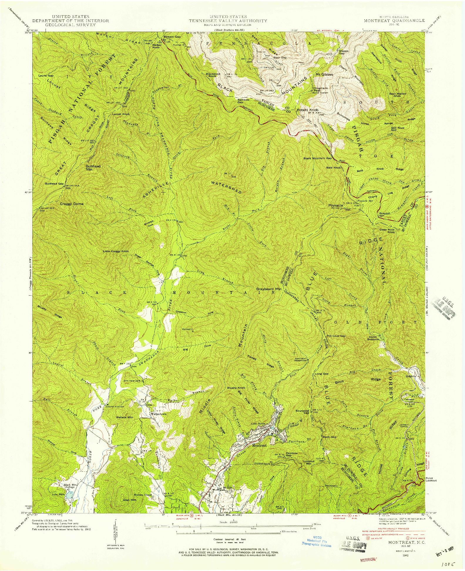 USGS 1:24000-SCALE QUADRANGLE FOR MONTREAT, NC 1942