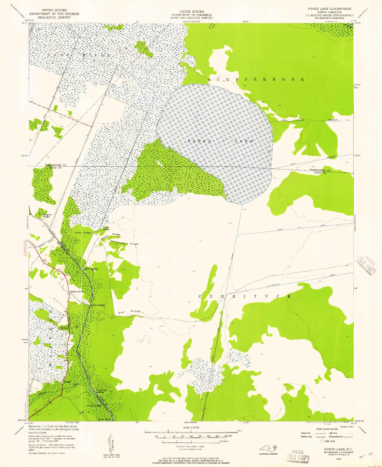 USGS 1:24000-SCALE QUADRANGLE FOR PUNGO LAKE, NC 1954