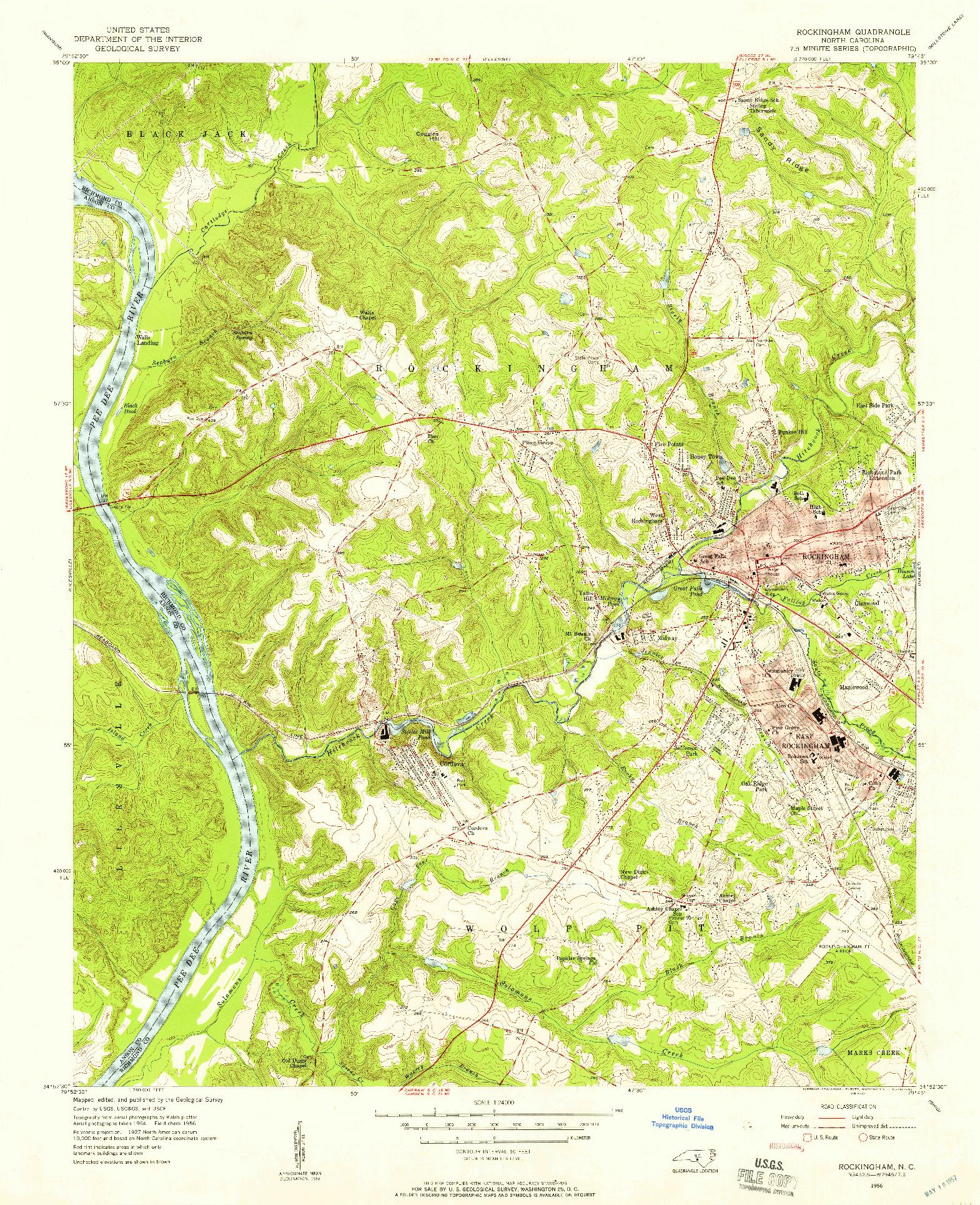 USGS 1:24000-SCALE QUADRANGLE FOR ROCKINGHAM, NC 1956