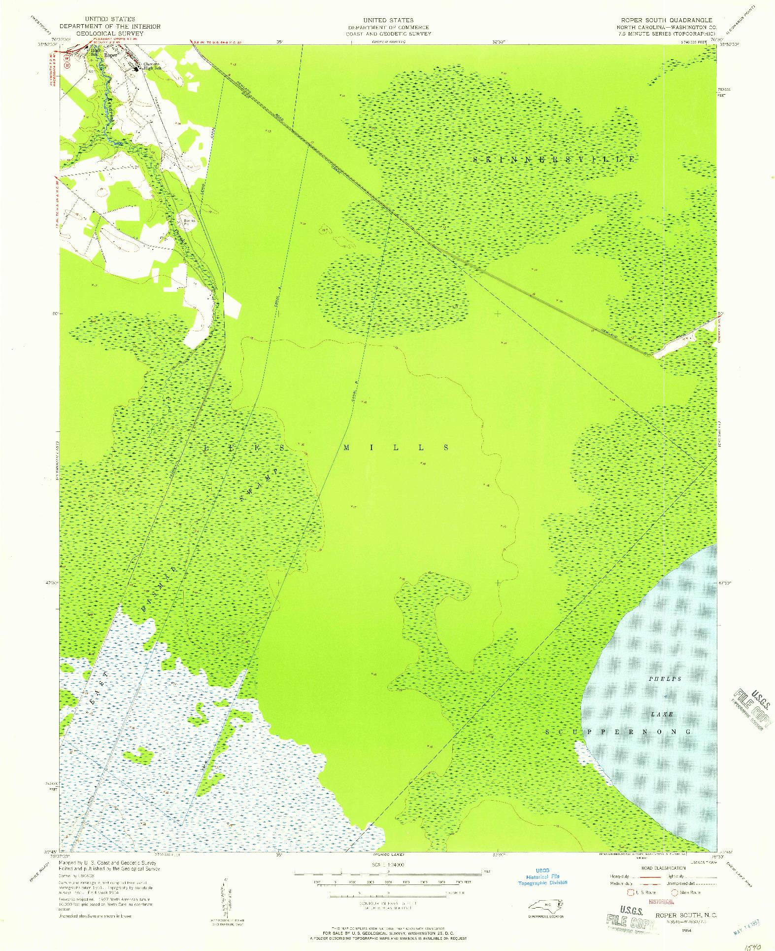 USGS 1:24000-SCALE QUADRANGLE FOR ROPER SOUTH, NC 1954