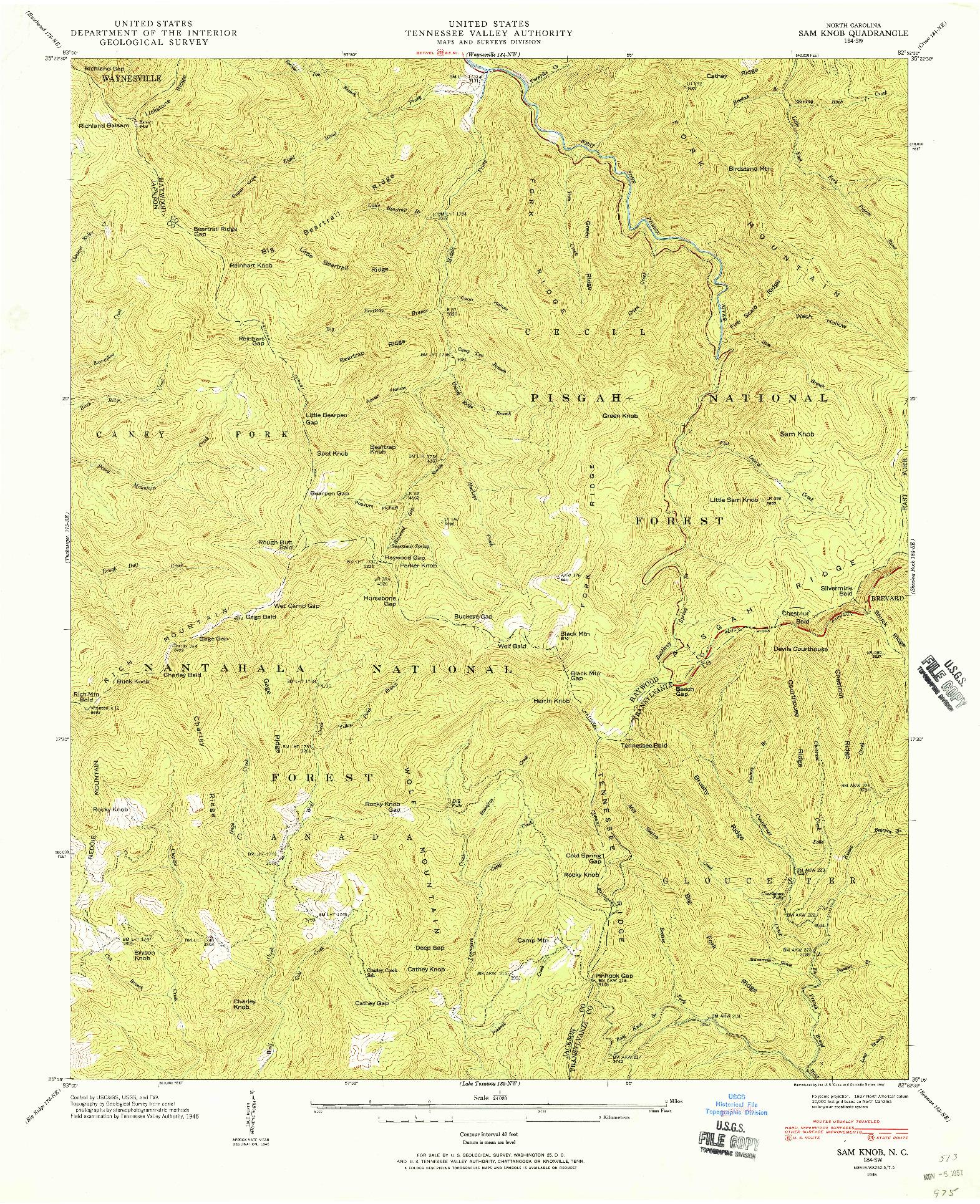 USGS 1:24000-SCALE QUADRANGLE FOR SAM KNOB, NC 1946