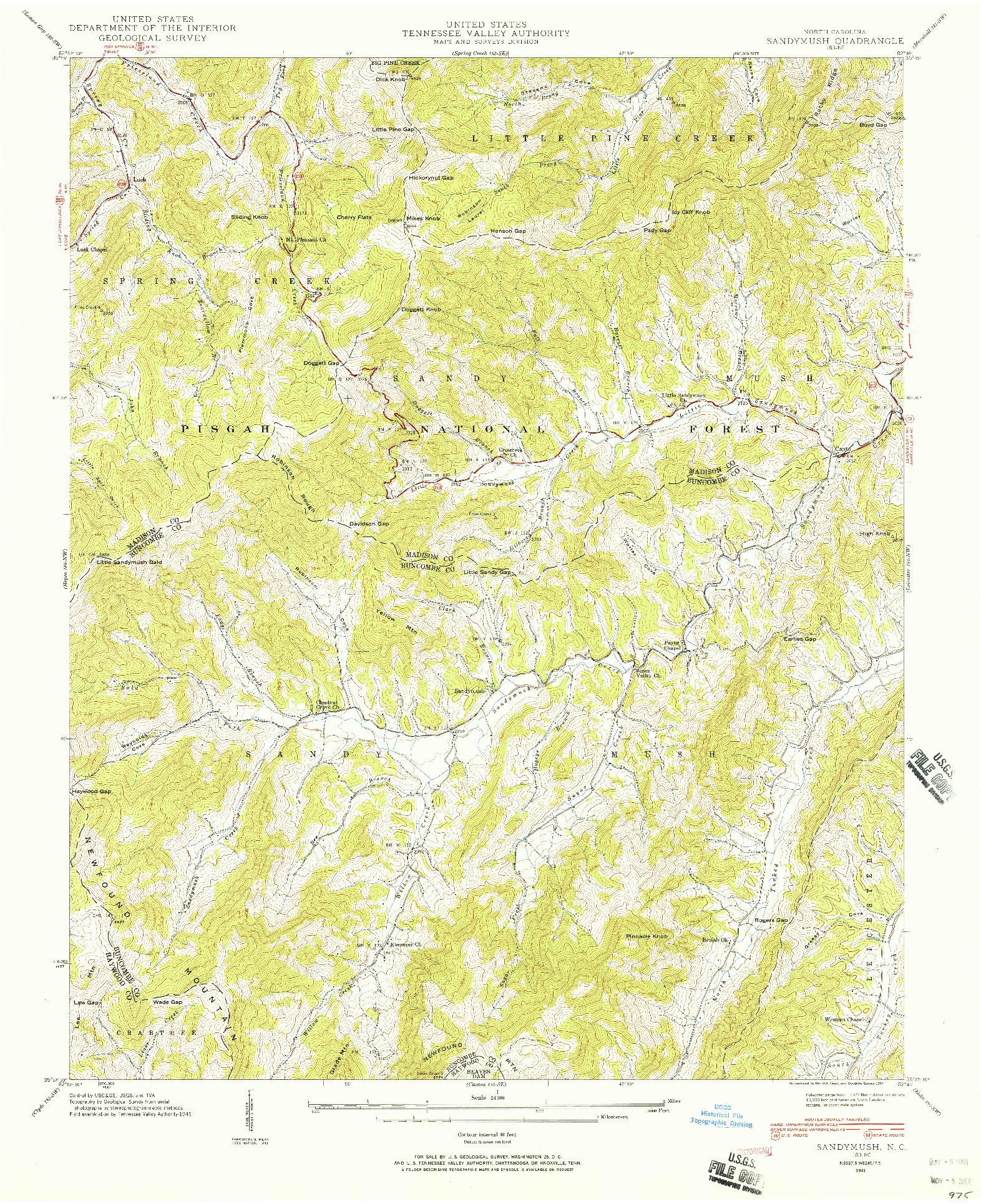 USGS 1:24000-SCALE QUADRANGLE FOR SANDYMUSH, NC 1941