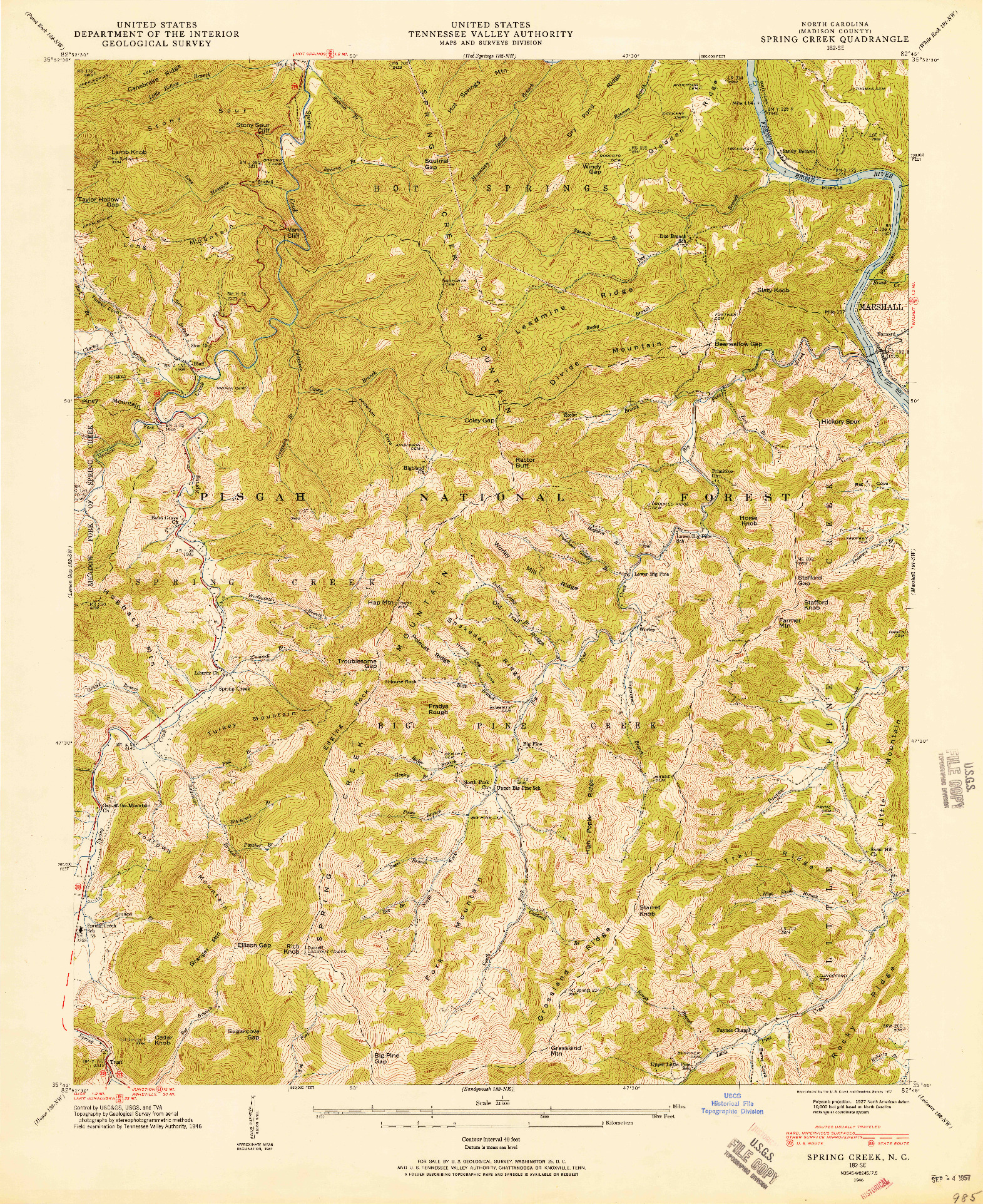 USGS 1:24000-SCALE QUADRANGLE FOR SPRING CREEK, NC 1946