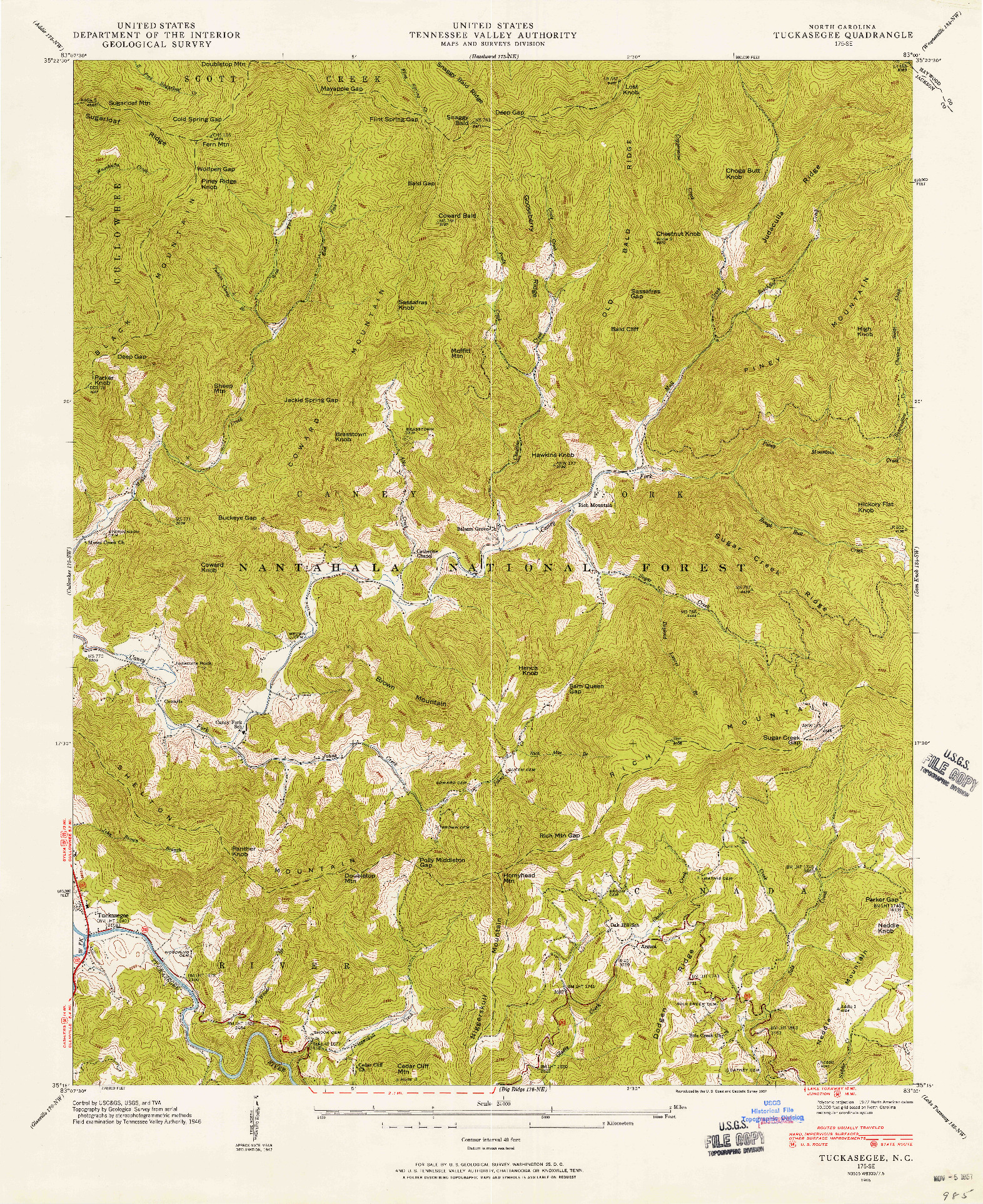 USGS 1:24000-SCALE QUADRANGLE FOR TUCKASEGEE, NC 1946