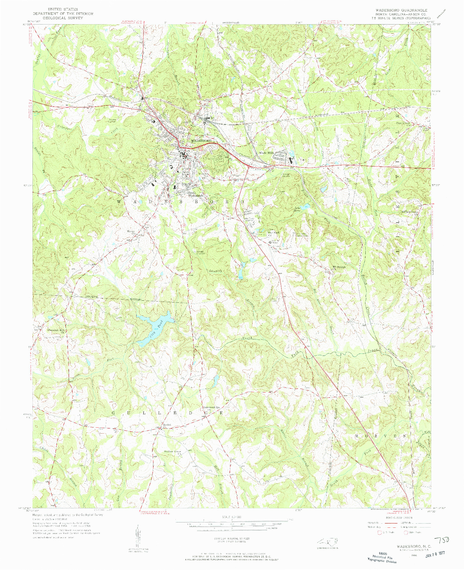 USGS 1:24000-SCALE QUADRANGLE FOR WADESBORO, NC 1956