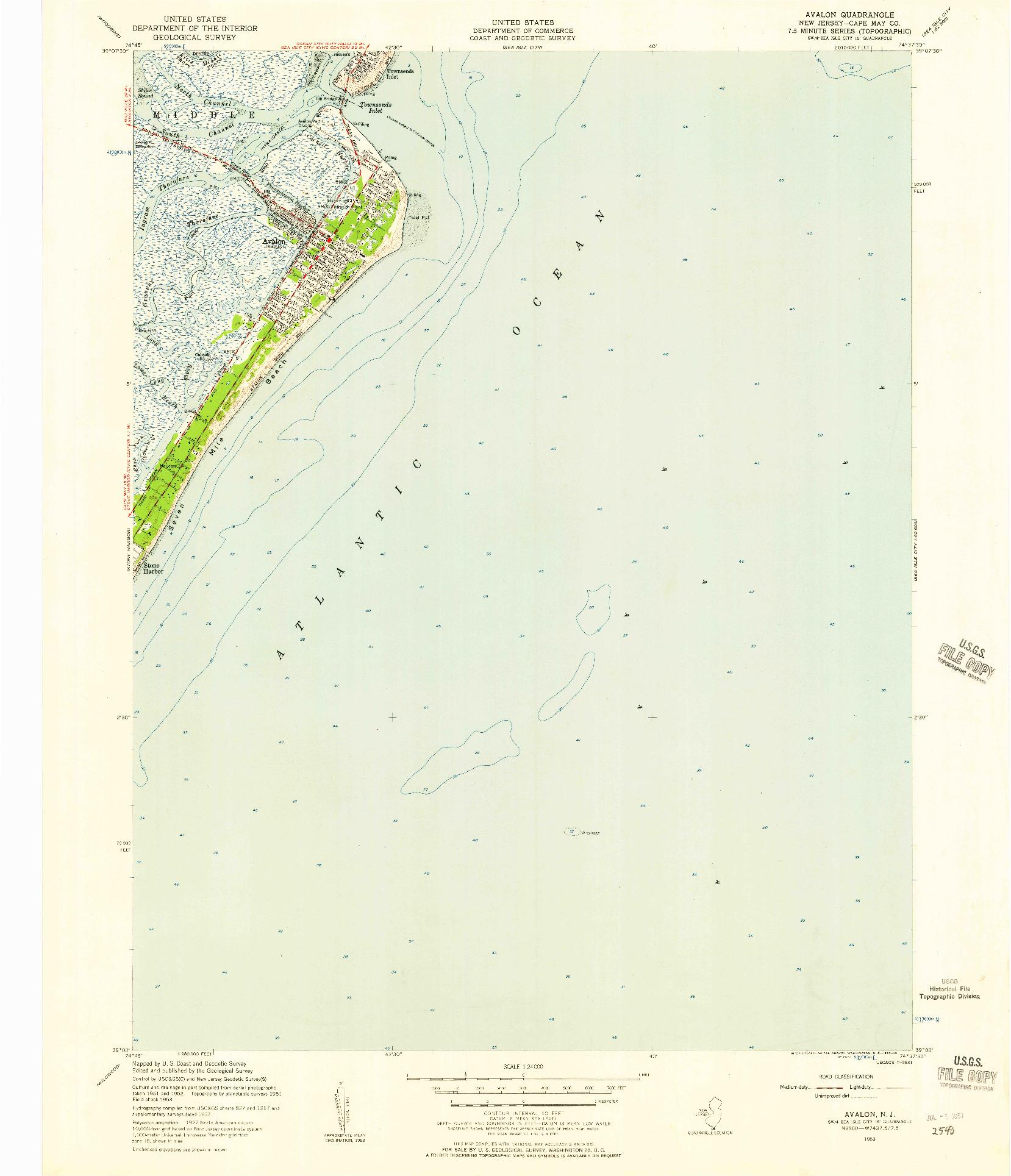 USGS 1:24000-SCALE QUADRANGLE FOR AVALON, NJ 1953