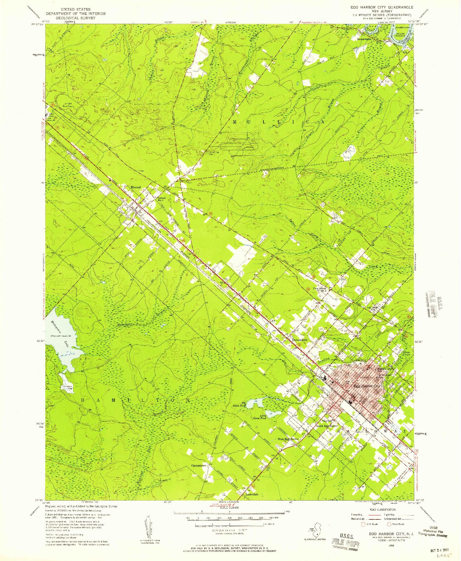 USGS 1:24000-SCALE QUADRANGLE FOR EGG HARBOR CITY, NJ 1956