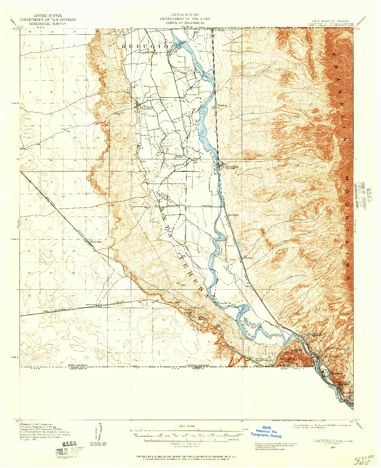 USGS 1:62500-SCALE QUADRANGLE FOR CANUTILLO, NM 1917