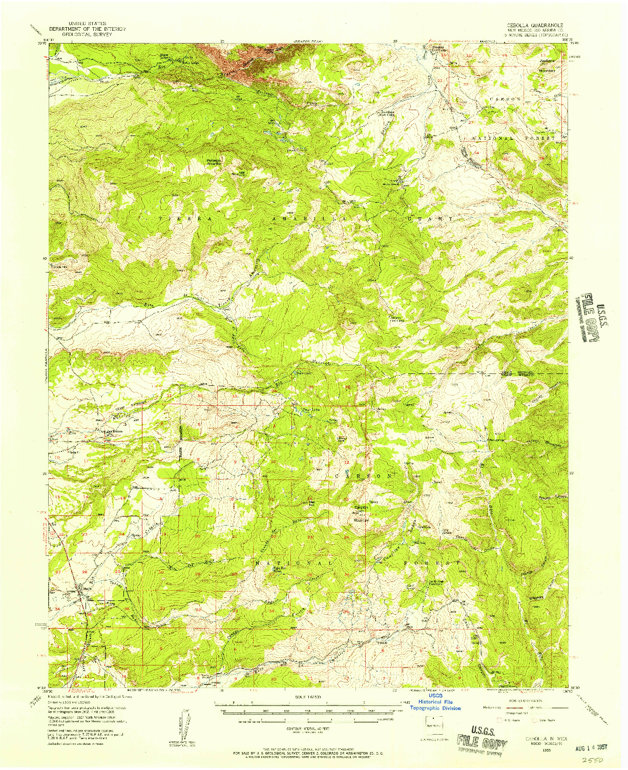 USGS 1:62500-SCALE QUADRANGLE FOR CEBOLLA, NM 1955