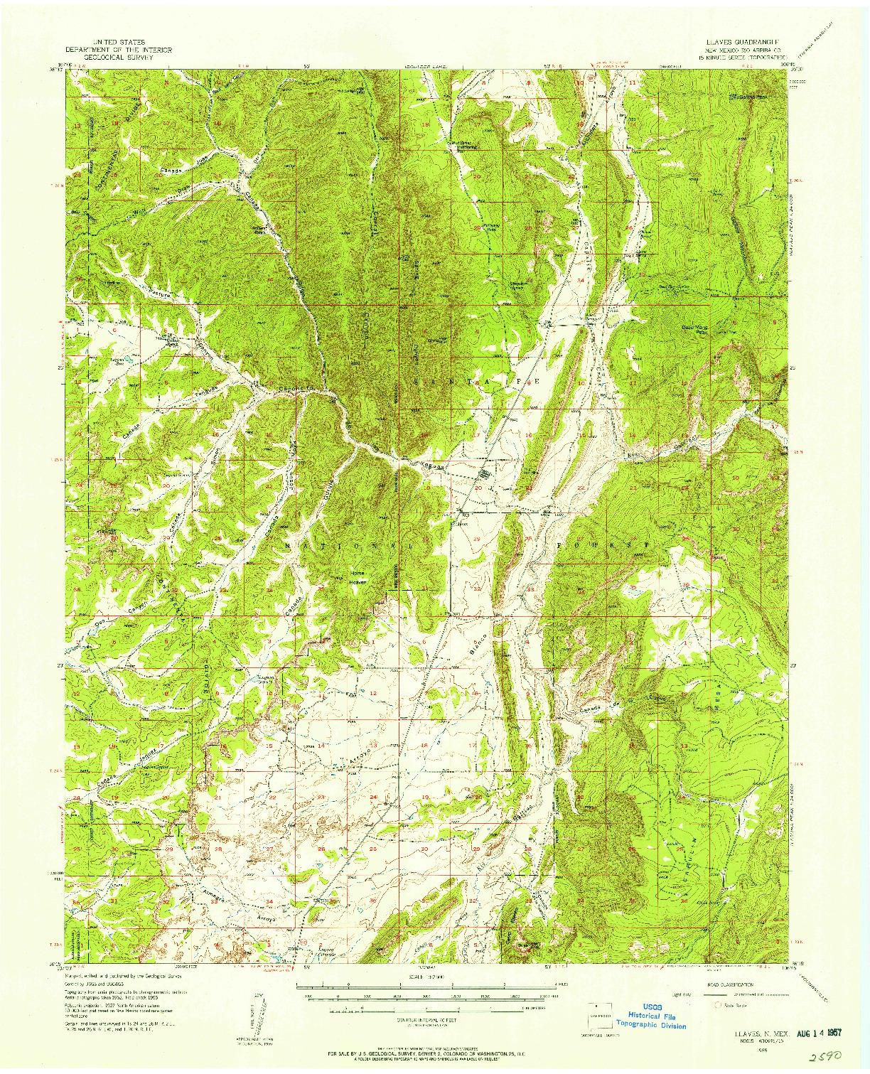 USGS 1:62500-SCALE QUADRANGLE FOR LLAVES, NM 1955