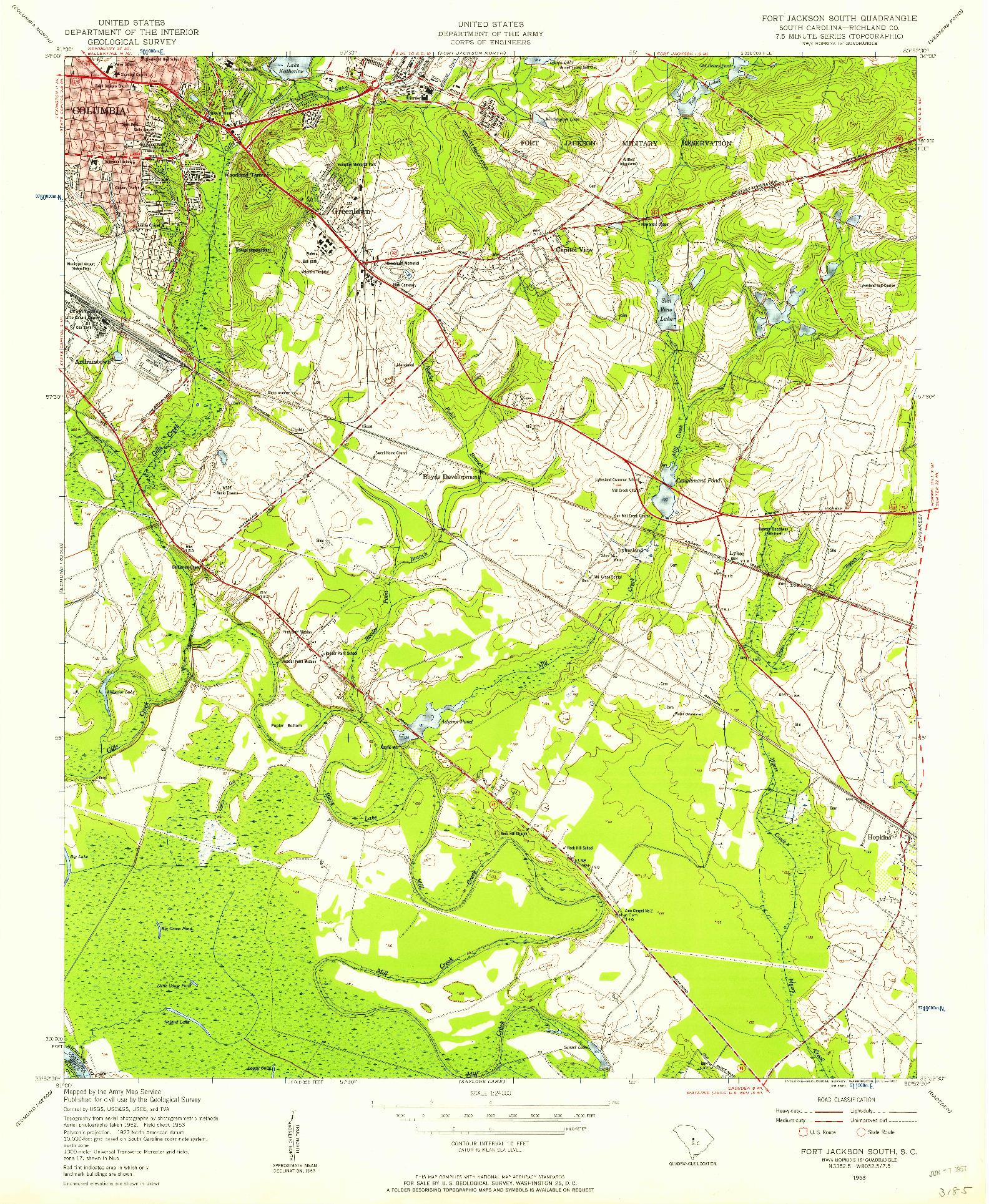 USGS 1:24000-SCALE QUADRANGLE FOR FORT JACKSON SOUTH, SC 1953